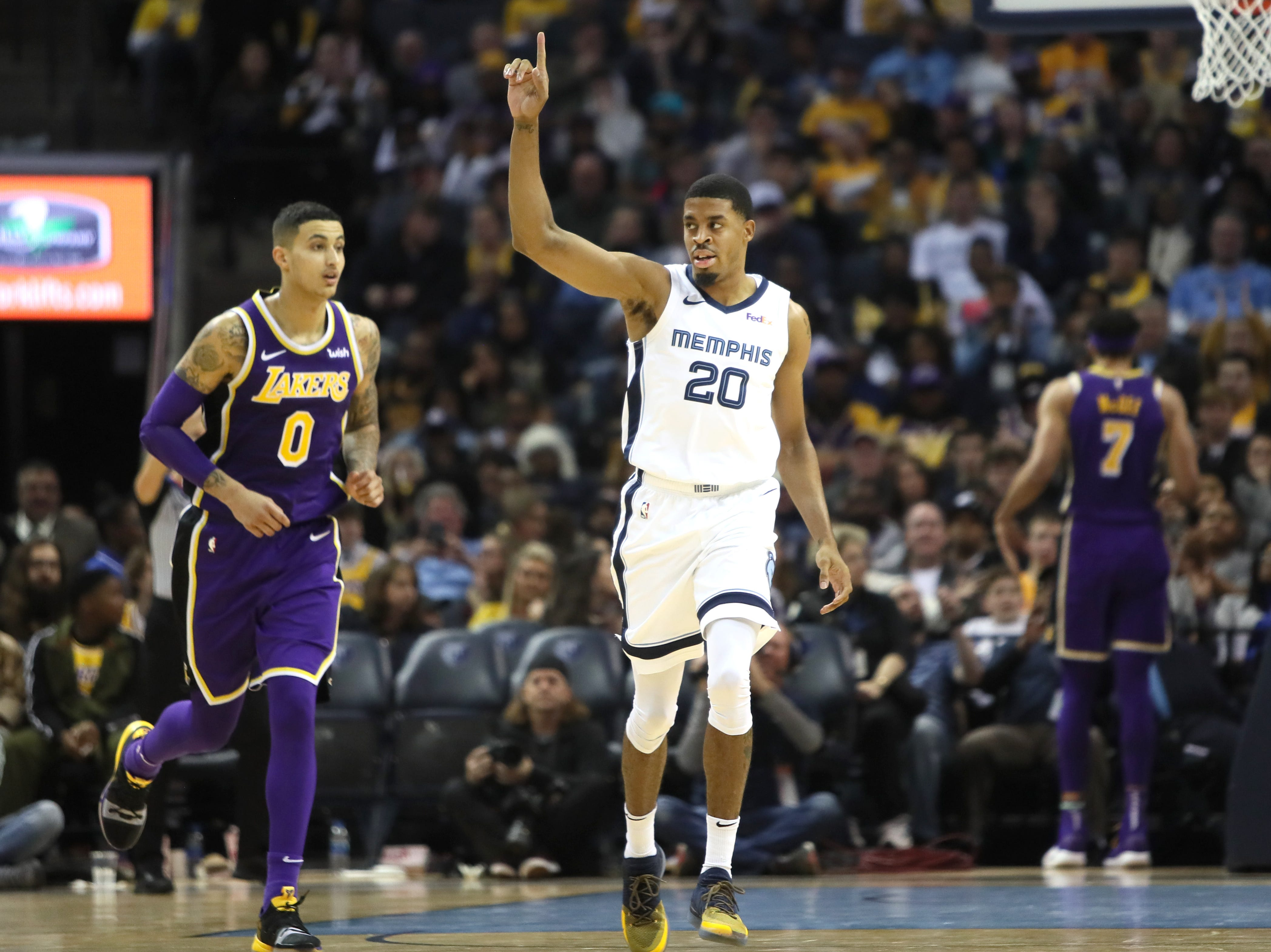 Memphis Grizzlies guard DJ Stephens celebrates his dunk against the Los Angeles Lakers during their game at the FedExForum on Saturday, Dec. 8, 2018.