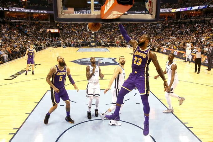 Los Angeles Lakers forward LeBron James dunks the ball against the Memphis Grizzlies during their game at the FedExForum on Saturday, Dec. 8, 2018.