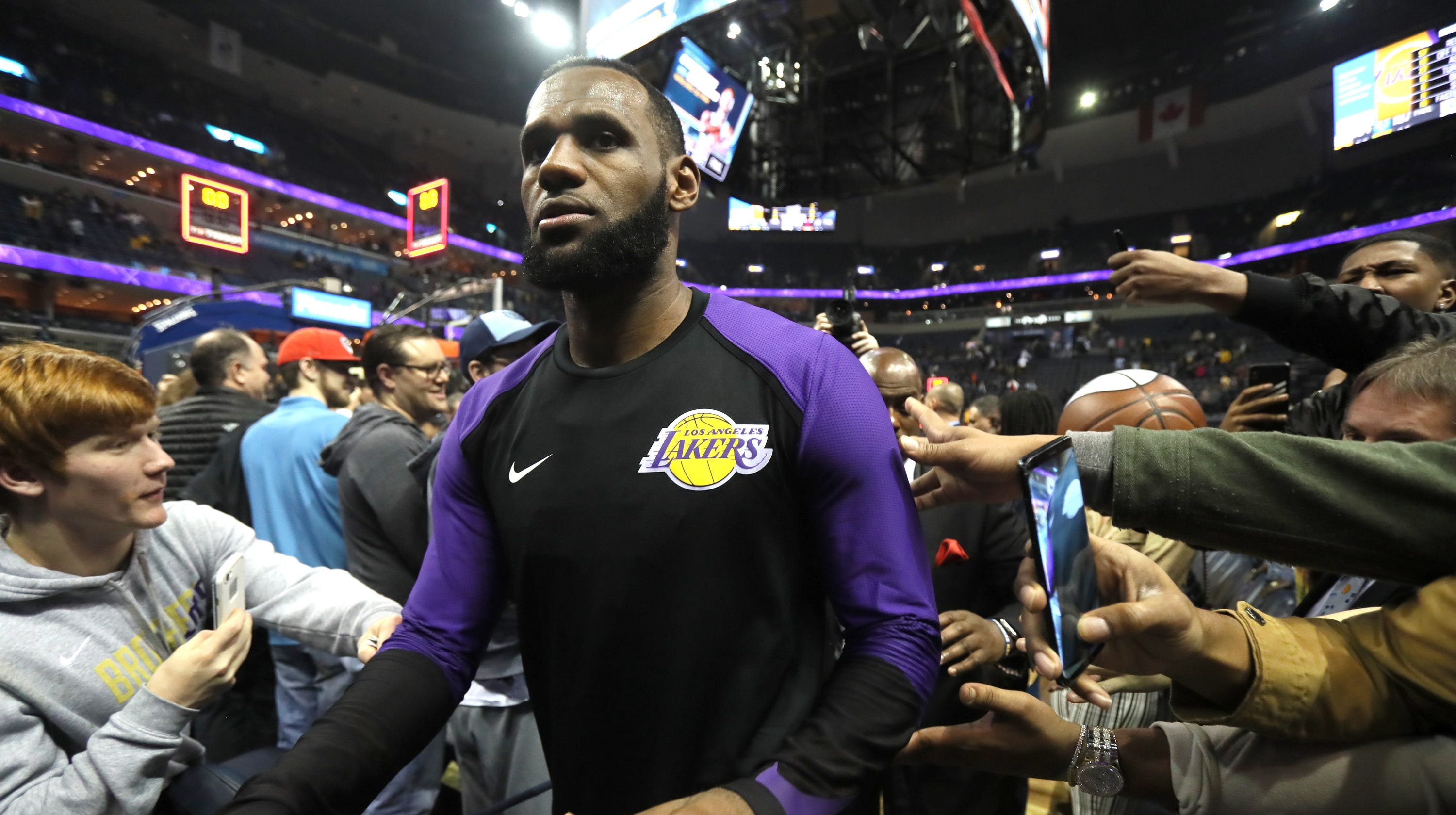 c5a073a345b4 LeBron James gave Memphis his shoes and a show in Lakers  win over Grizzlies