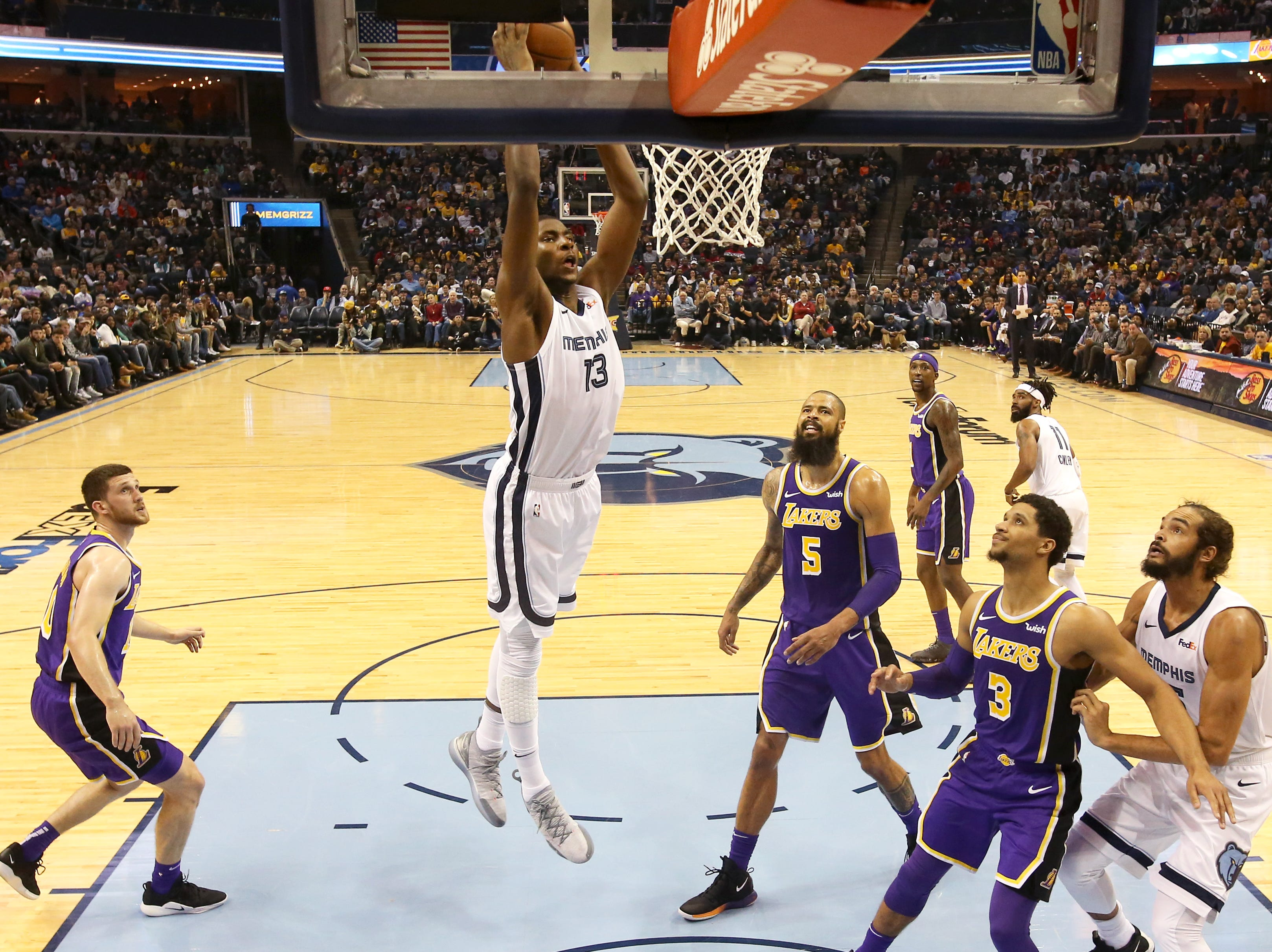 Memphis Grizzlies forward Jaren Jackson Jr. dunks the ball against the Los Angeles Lakers during their game at the FedExForum on Saturday, Dec. 8, 2018.