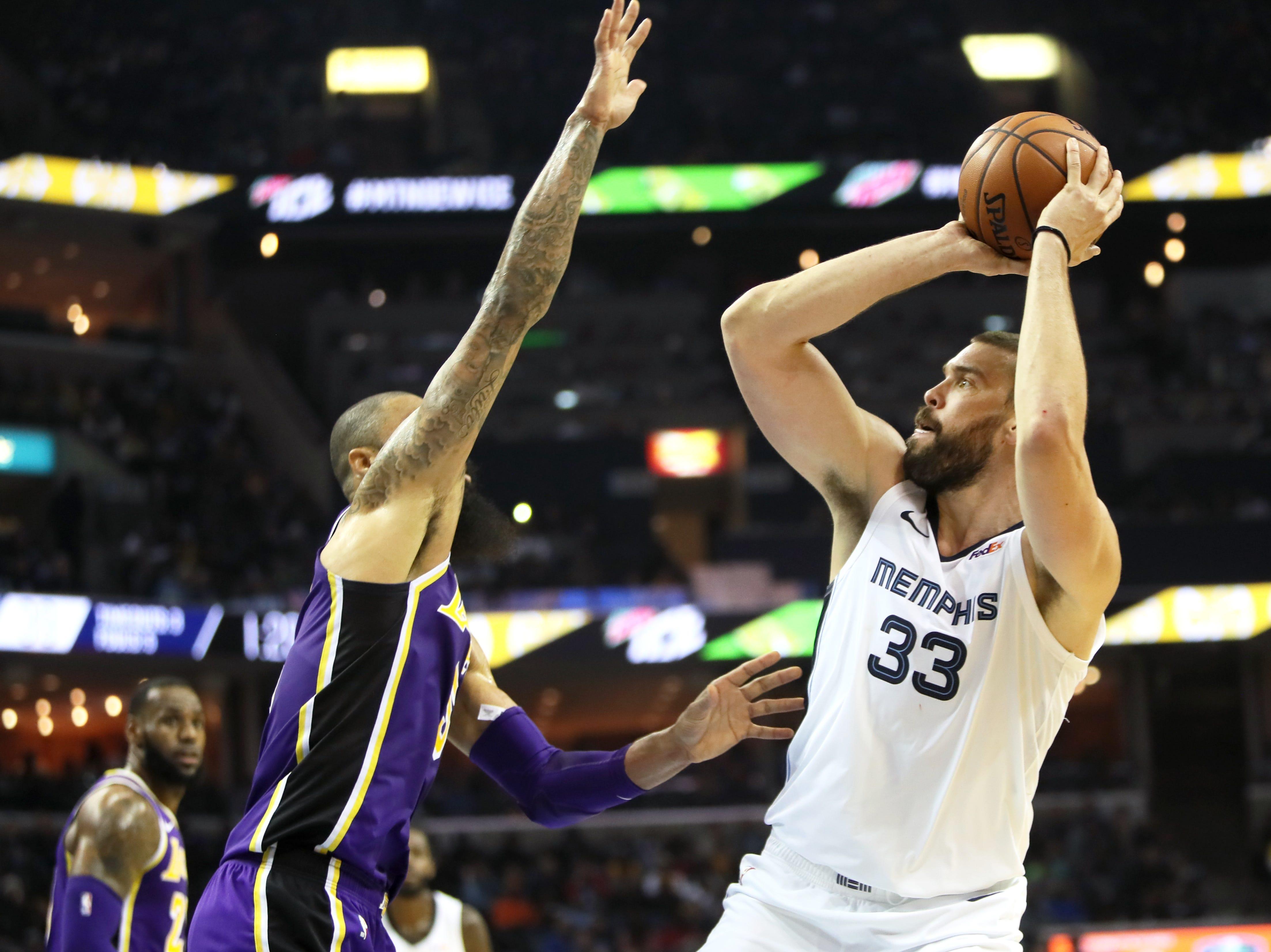 Memphis Grizzlies center Marc Gasol shoots the ball against Los Angeles Lakers defender Tyson Chandler at the FedExForum on Saturday, Dec. 6, 2018.