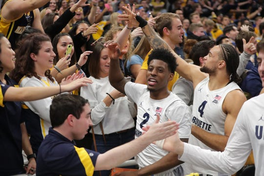 Sacar Anim (2) has played a key role in Marquette's success this season.