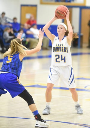 Mountain Home's Emma Martin looks to pass inside during a recent game at The Hangar.