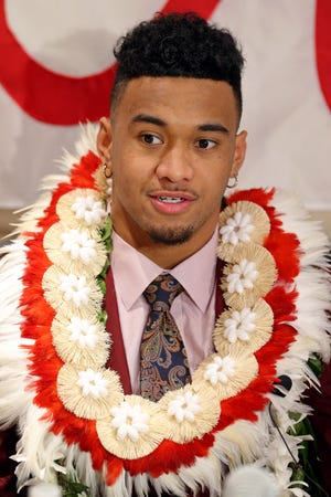 Dec 8, 2018; New York, NY, USA; Heisman Trophy finalist Alabama Crimson Tide quarterback Tua Tagovailoa answers questions during a press conference at the New York Marriott Marquis before the Heisman Trophy announcement ceremony. Mandatory Credit: Brad Penner-USA TODAY Sports