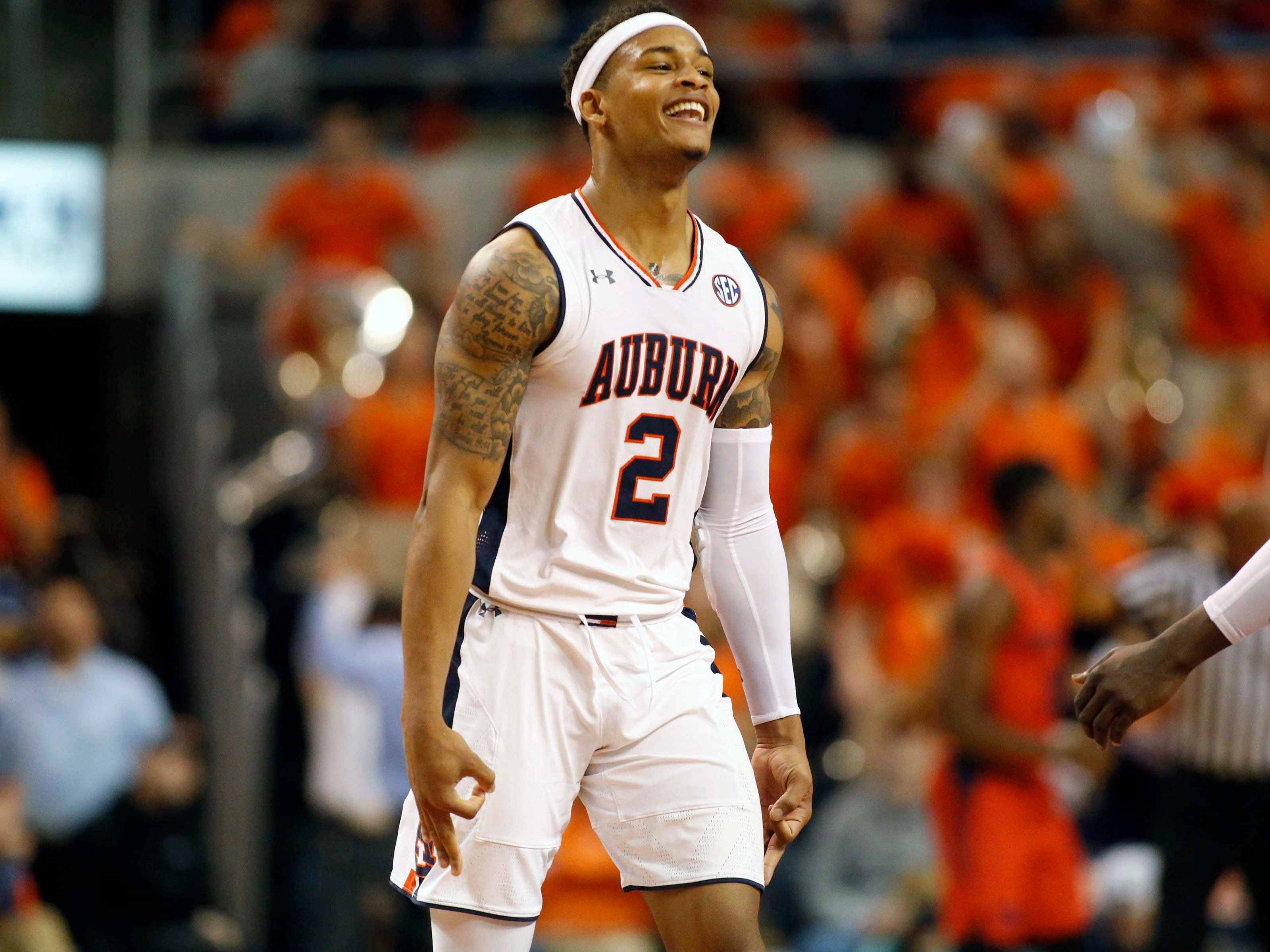 Auburn guard Bryce Brown (2) celebrates after scoring a 3-point shot against Dayton at Auburn Arena on Dec. 8, 2018.