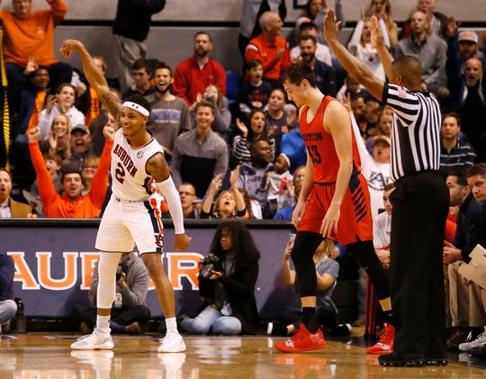 Dec 8, 2018; Auburn, AL, USA; Auburn Tigers guard Bryce Brown (2) reacts after scoring during the first half against the Dayton Flyers at Auburn Arena. Mandatory Credit: John Reed-USA TODAY Sports