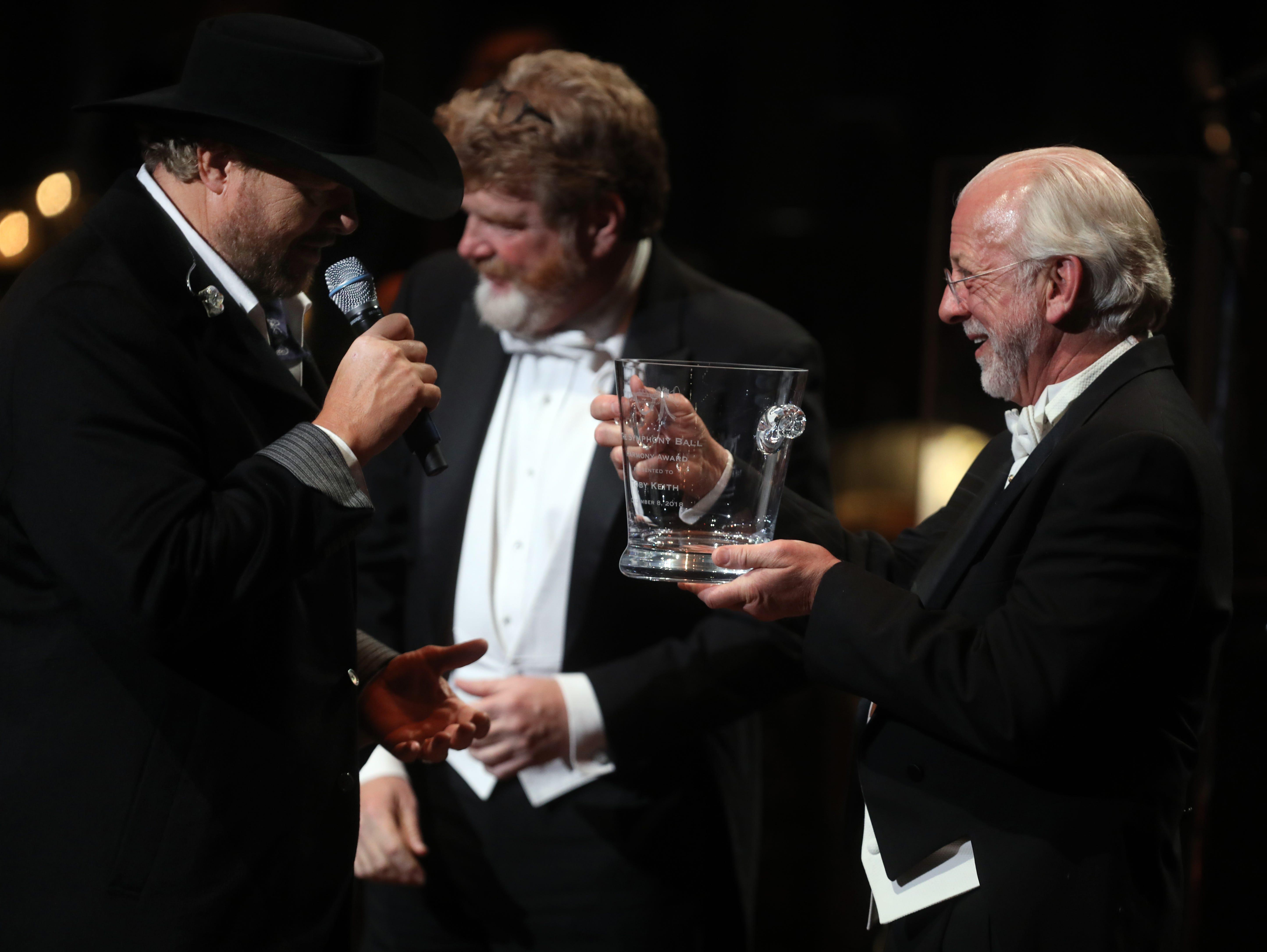 Alan Valentine presents the Nashville Symphony's 2018 Harmony Award to Toby Keith the 34th annual Symphony Ball on Saturday, December 8, 2018, at Schermerhorn Symphony Center.