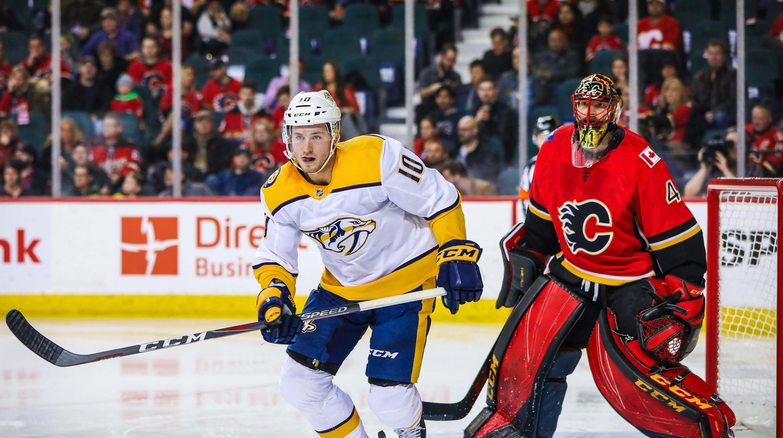 6c098f28f44 Shorthanded Predators fall short against the red-hot Flames