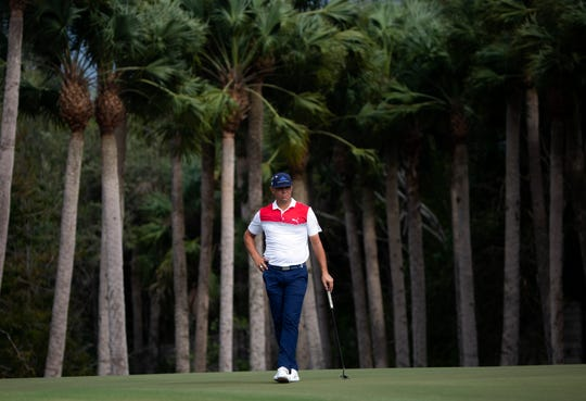 Gary Woodland waits to hit his ball during the final day of the QBE Shootout at the Tiburón Golf Club on Sunday.