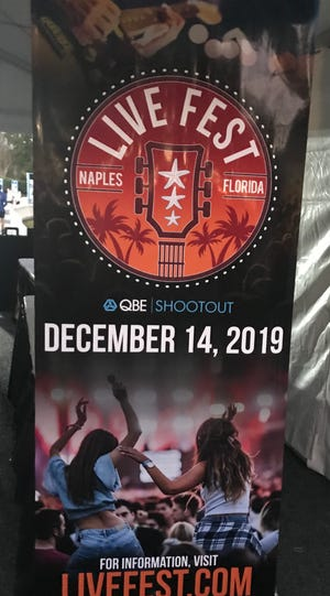 A banner promoting Live Fest, a concert tentatively scheduled for next year at the QBE Shootout, was at the spectator exit on Saturday, Dec. 8, 2018.