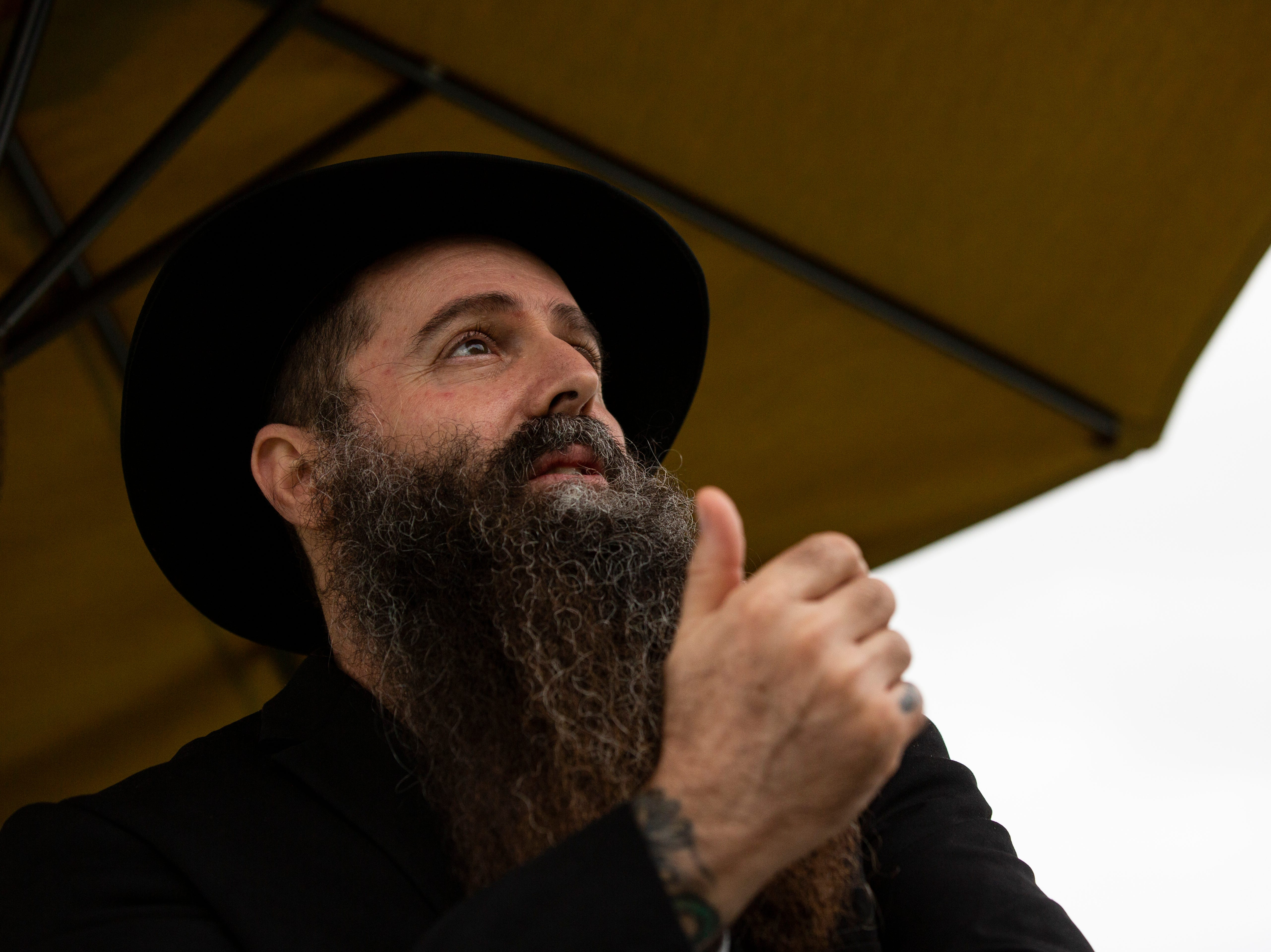 Dov Moshe Newmark Chabad Lubavitch talks about the meaning of Hanukkah in light of the recent tragedy in Pittsburgh during the cultural celebrations put up by the Chabad of Bonita Springs & Estero on Sunday evening, Dec. 9, 2018.