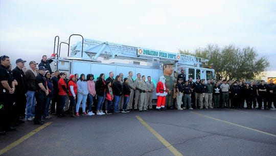 All Luna County public safety officers and volunteers who've helped during the Shop with a Cop program Saturday morning.