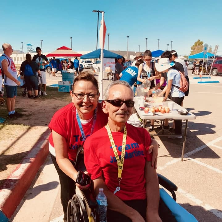 New Mexico Gov. Susana Martinez, left, poses with her brother, Jake Martinez at the Walk to Defeat ALS in El Paso in October 2018. Jake Martinez died in December 2018 from complications from ALS.