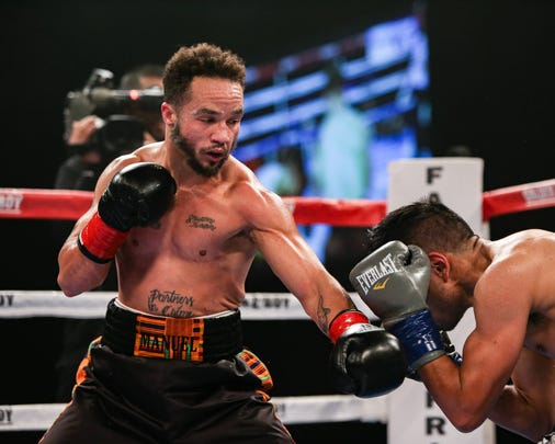 Patricio Manuel, left, posted a unanimous decision victory over Hugo Aguilar in the 128-pound super featherweight division bout Saturday night, Dec. 8, 2018, at Fantasy Springs Casino in Indio, California. Manuel became the first transgender male to compete as a pro boxer in the United States.
