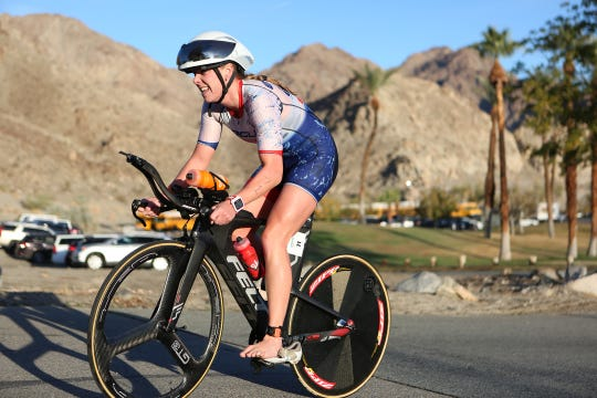A cyclist competes in the Ironman 70.3  in La Quinta and Indian Wells on Dec. 9, 2018. The 56-mile cycling portion of the race caused a traffic nightmare that had traffic at a standstill for more than two hours on major roads in La Quinta. The city has since been working with Ironman organizers, city of Indian Wells and La Quinta police to see if a better route can be developed to allow the 2019 race to occur in the city.