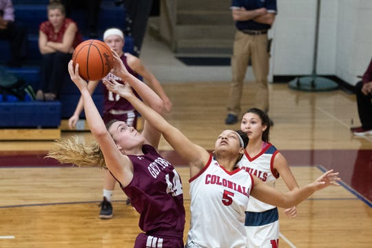In this file photo, Gettysburg's Taylor Richardson (44) shoots the ball during the championship game between New Oxford and Gettysburg at the New Oxford Girls Basketball Tip-Off Tournament, Saturday, Dec. 8, 2018, in New Oxford. The Gettysburg Lady Warriors defeated the New Oxford Lady Colonials 47-40.