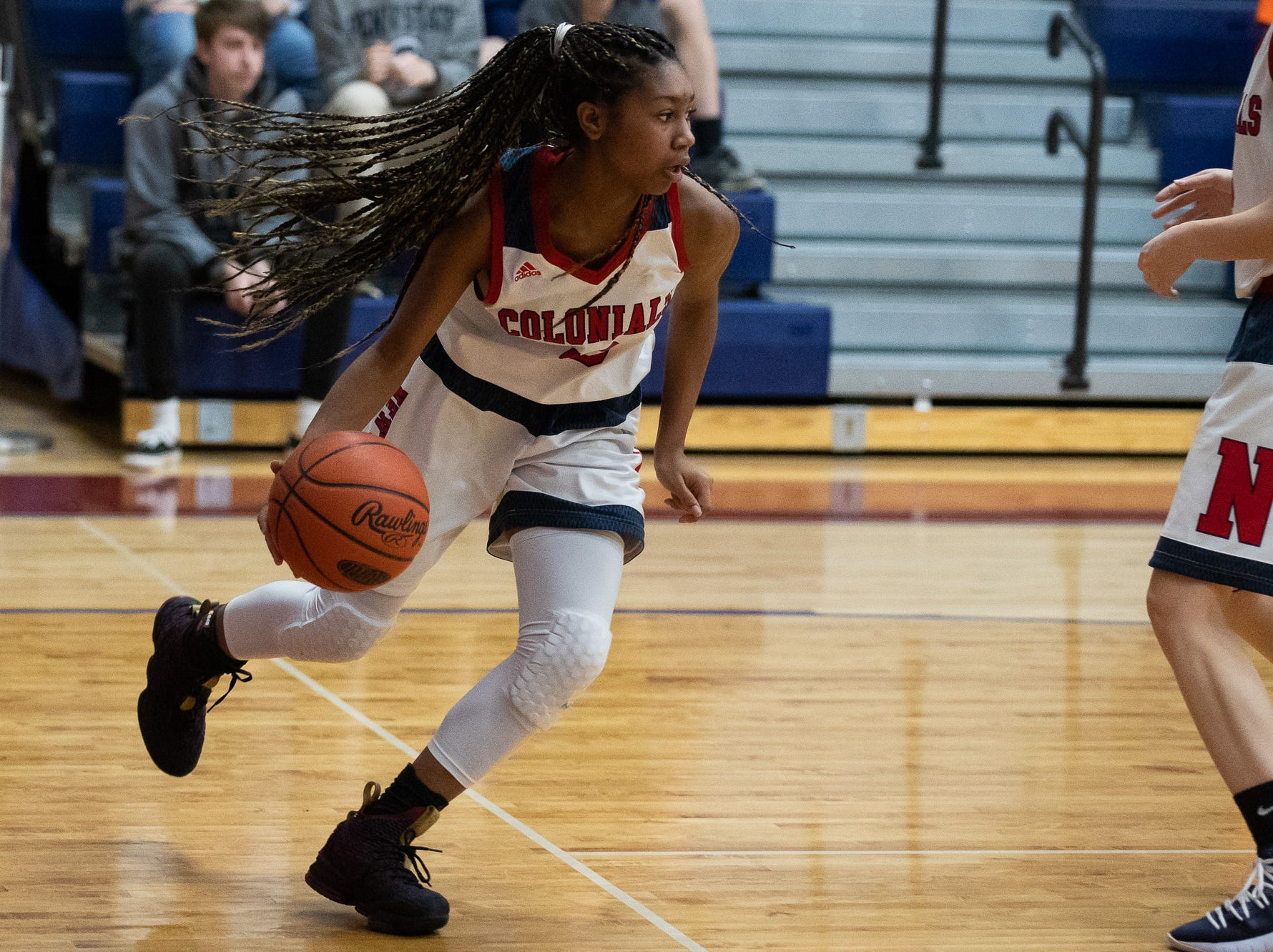 New Oxford's Jayla Brown (10) dribbles the ball during the championship game between New Oxford and Gettysburg at the New Oxford Girls Basketball Tip-Off Tournament, Saturday, Dec. 8, 2018, in New Oxford. The Gettysburg Lady Warriors defeated the New Oxford Lady Colonials 47-40.