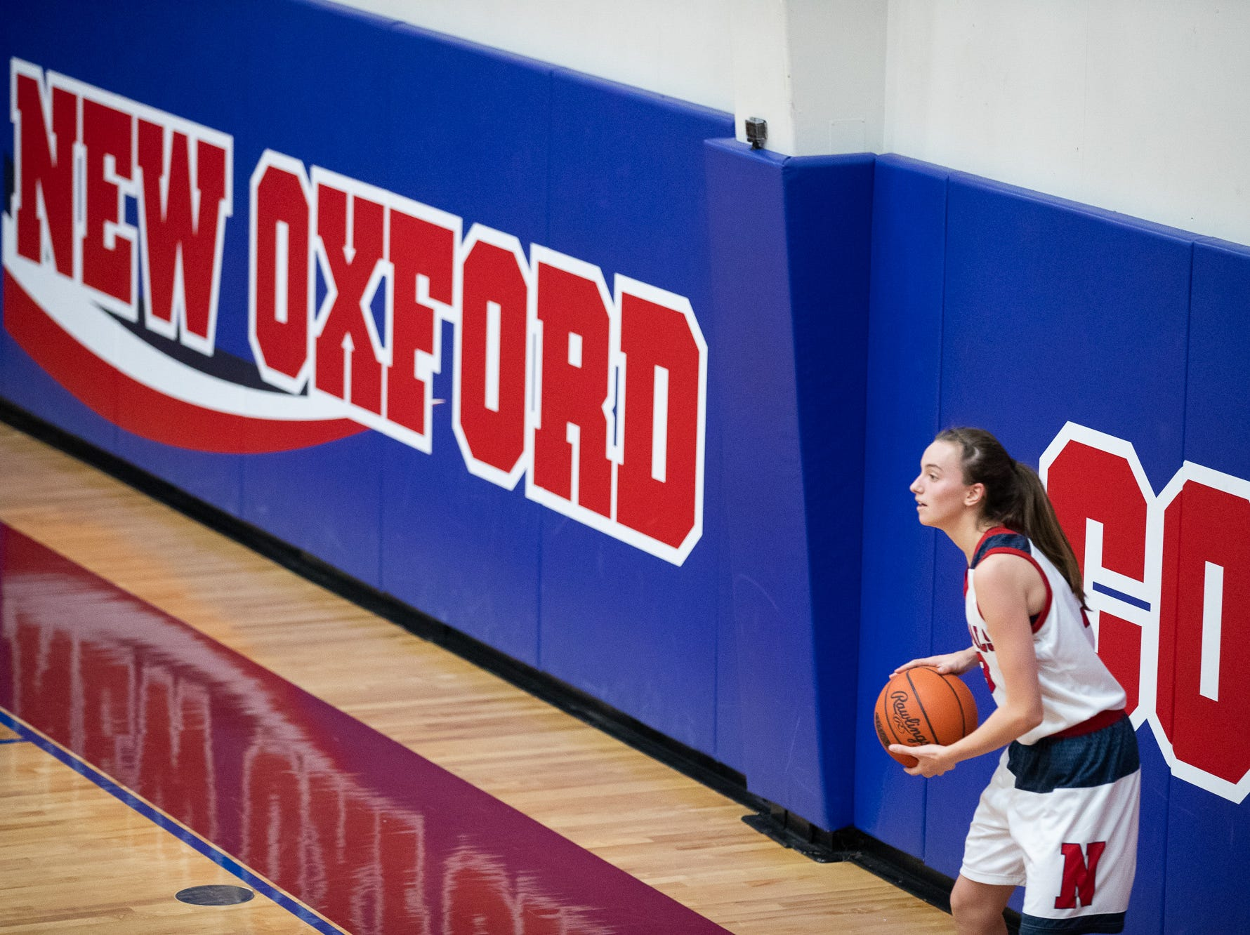New Oxford's Daelyn Stabler (3) prepares to throw-in the ball during the championship game between New Oxford and Gettysburg at the New Oxford Girls Basketball Tip-Off Tournament, Saturday, Dec. 8, 2018, in New Oxford. The Gettysburg Lady Warriors defeated the New Oxford Lady Colonials 47-40.
