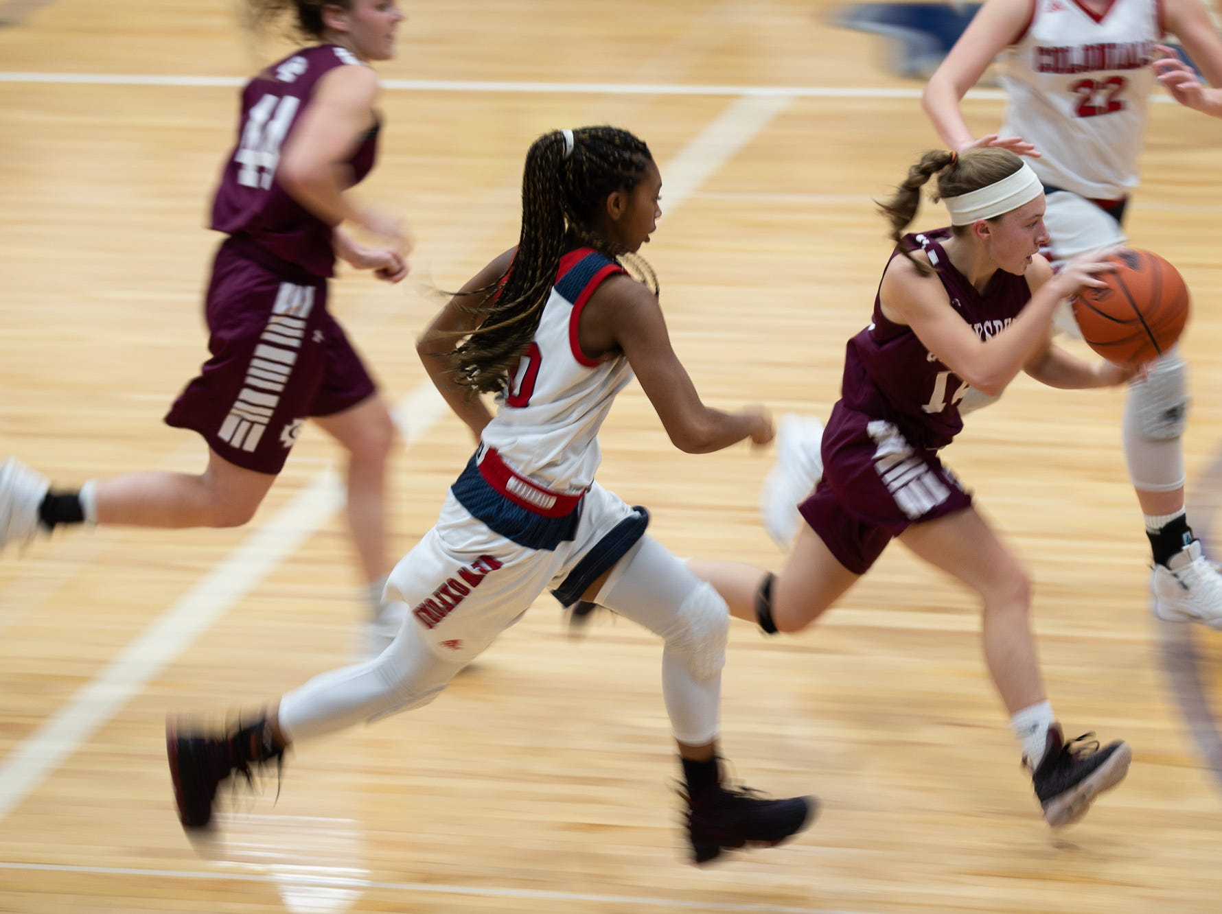 Gettysburg's Karli Bortner (12)drives the ball down the court during the championship game between New Oxford and Gettysburg at the New Oxford Girls Basketball Tip-Off Tournament, Saturday, Dec. 8, 2018, in New Oxford. The Gettysburg Lady Warriors defeated the New Oxford Lady Colonials 47-40.