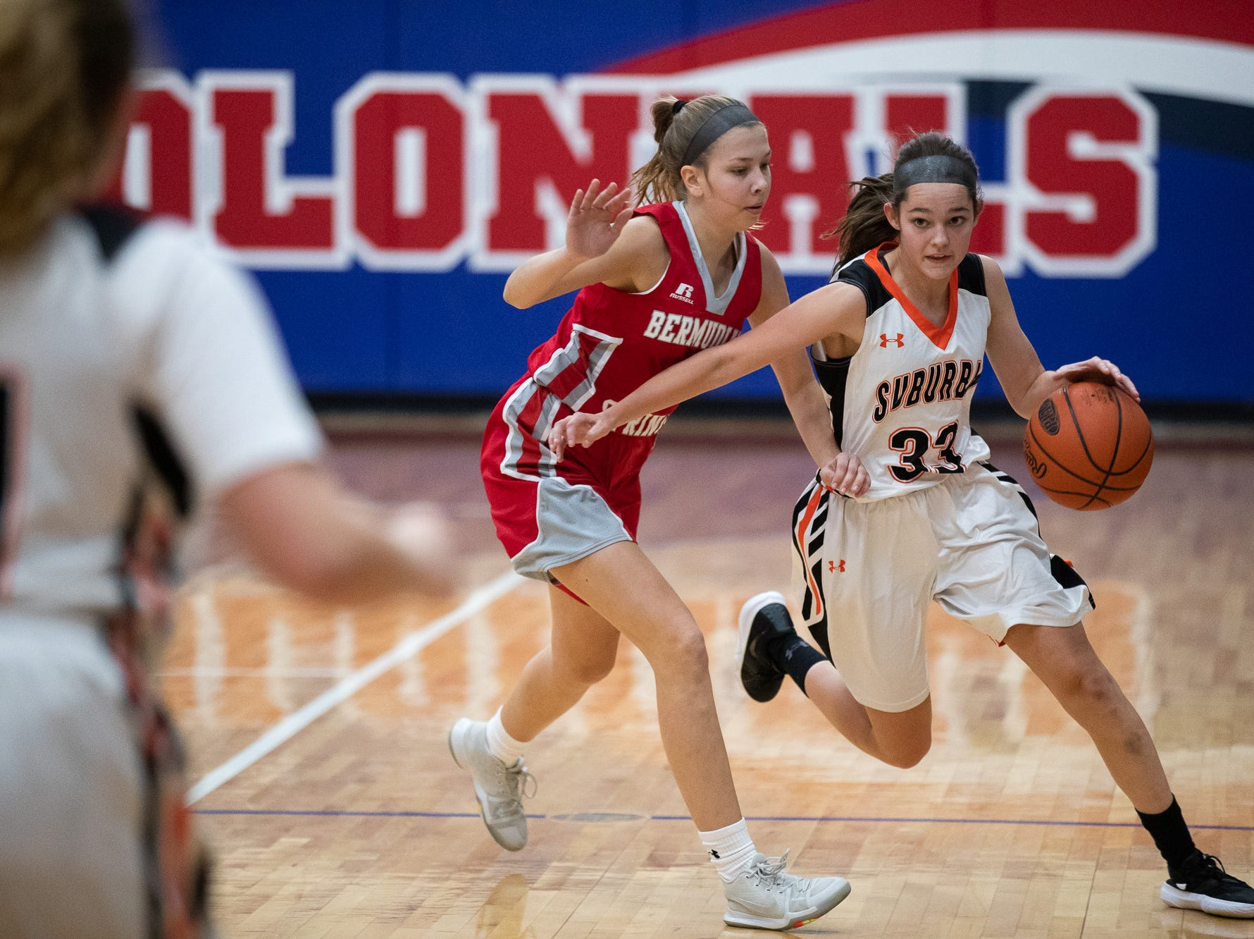 York Suburban's Brooke Sargen (33) races down the court during the consolation game between Bermudian Springs and York Suburban during the New Oxford Girls Basketball Tip-Off Tournament, Saturday, Dec. 8, 2018, in New Oxford. The Bermudian Springs Lady Eagles defeated the York Suburban Lady Trojans 60-58.