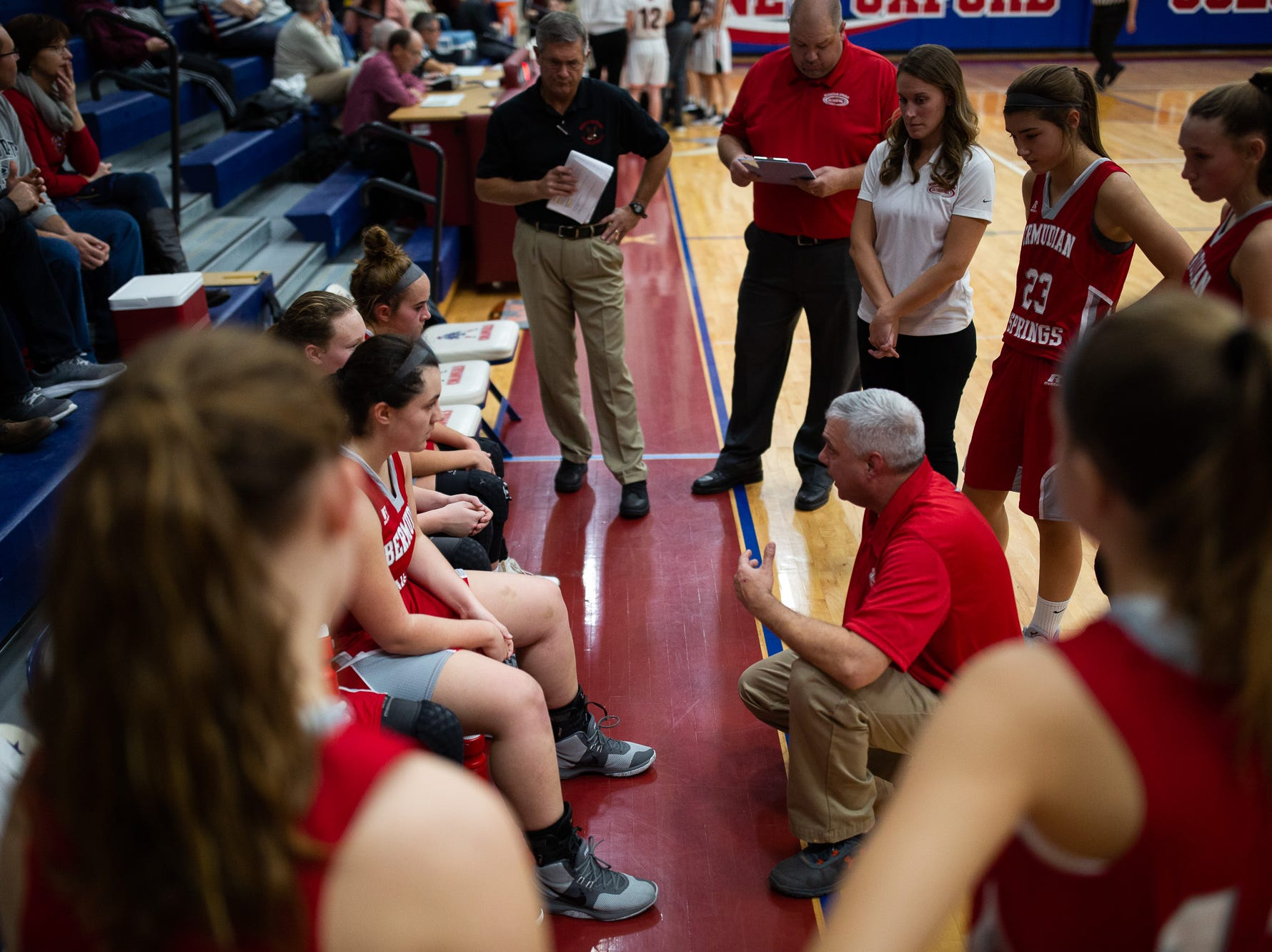 Bermudian Springs coach Todd Askins speaks to his team during the consolation game between Bermudian Springs and York Suburban during the New Oxford Girls Basketball Tip-Off Tournament, Saturday, Dec. 8, 2018, in New Oxford. The Bermudian Springs Lady Eagles defeated the York Suburban Lady Trojans 60-58.