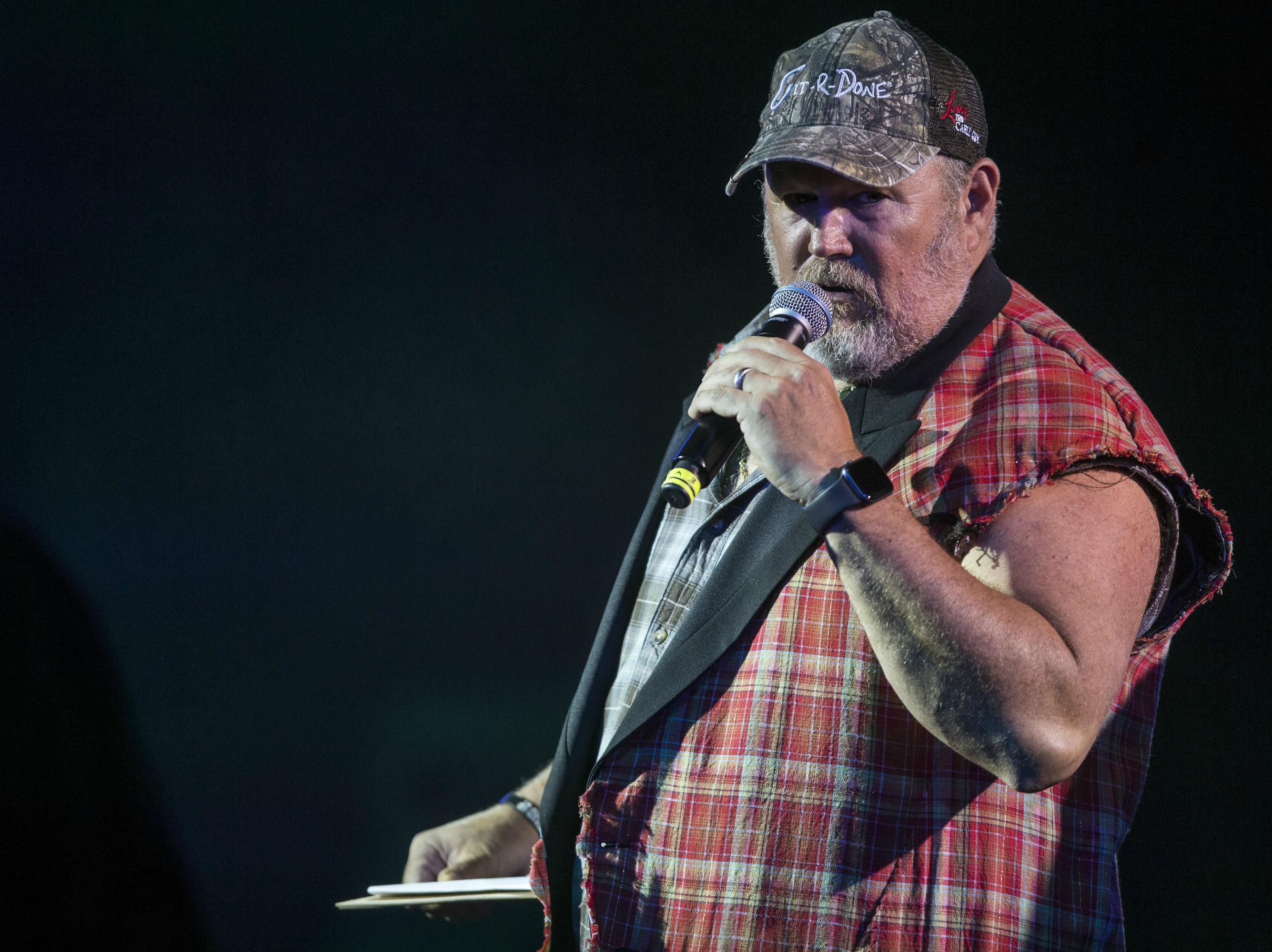 Larry the Cable Guy tells jokes during the 17th annual Alice Cooper's Christmas Pudding concert, Dec. 8, 2018, at Celebrity Theatre in Phoenix.