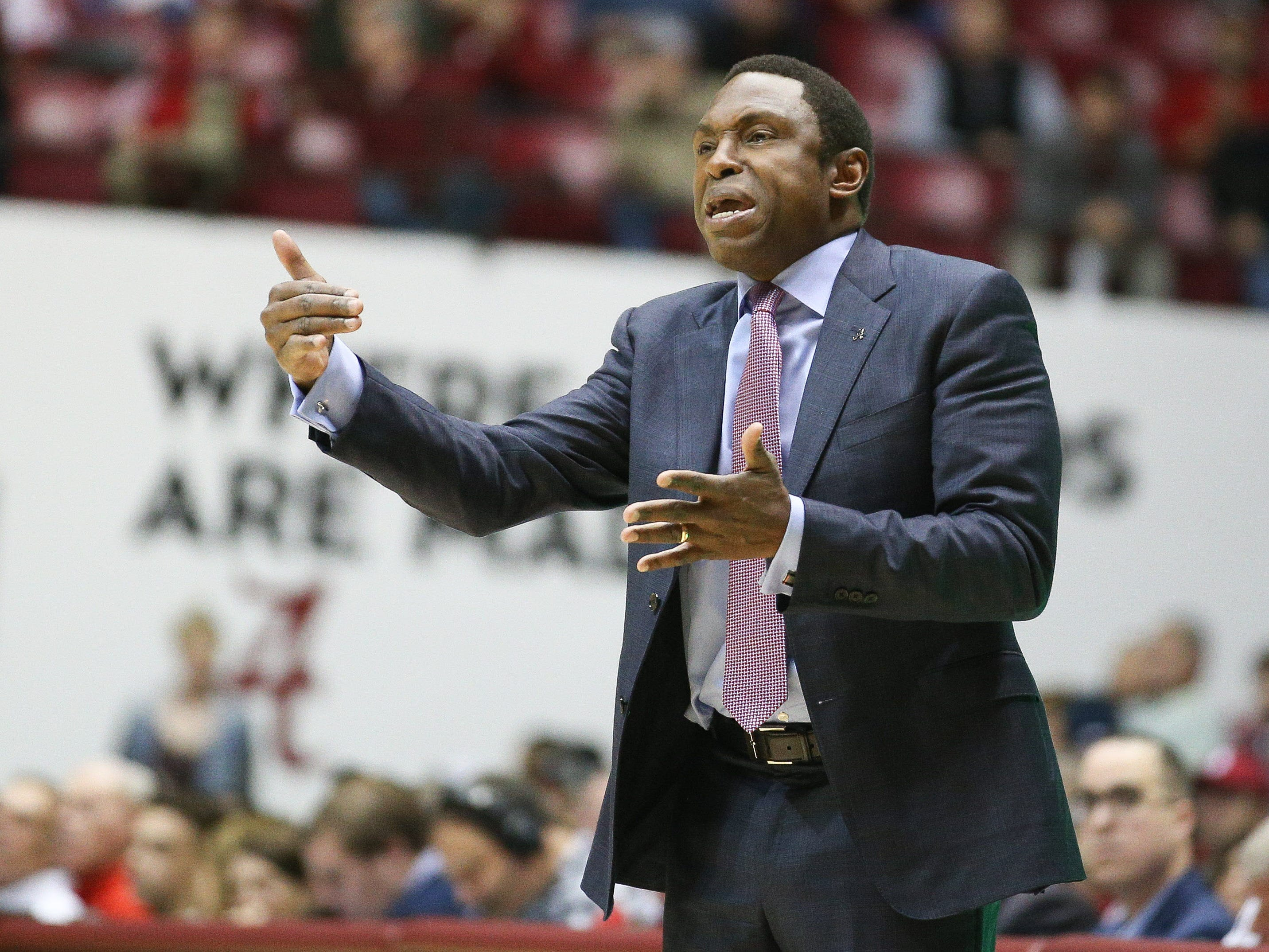 Dec 9, 2018; Tuscaloosa, AL, USA; Alabama Crimson Tide head coach Avery Johnson reacts to his teams play during the first half against Arizona Wildcats at Coleman Coliseum. Mandatory Credit: Marvin Gentry-USA TODAY Sports