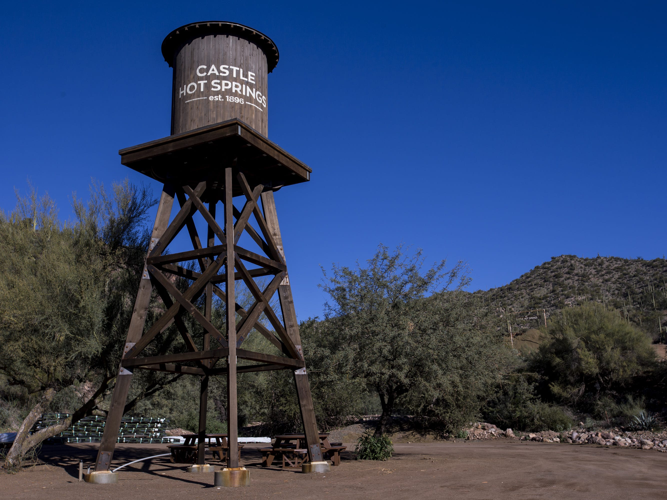A water tower is pictured during a private preview of the newly renovated Castle Hot Springs resort on Saturday, Dec. 8, 2018, in Morristown, Ariz. It has been 50 years since the resort has hosted any guests.