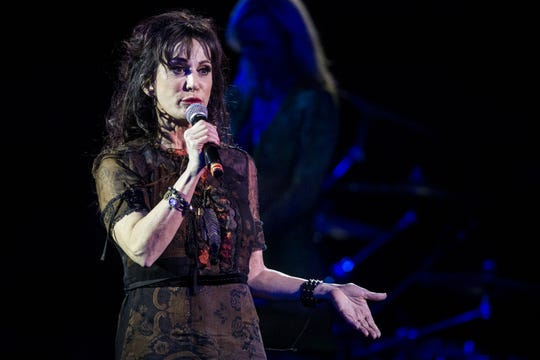 Sheryl Cooper speaks during the 17th annual Alice Cooper's Christmas Pudding concert on Saturday, Dec. 8, 2018, at Celebrity Theatre in Phoenix.