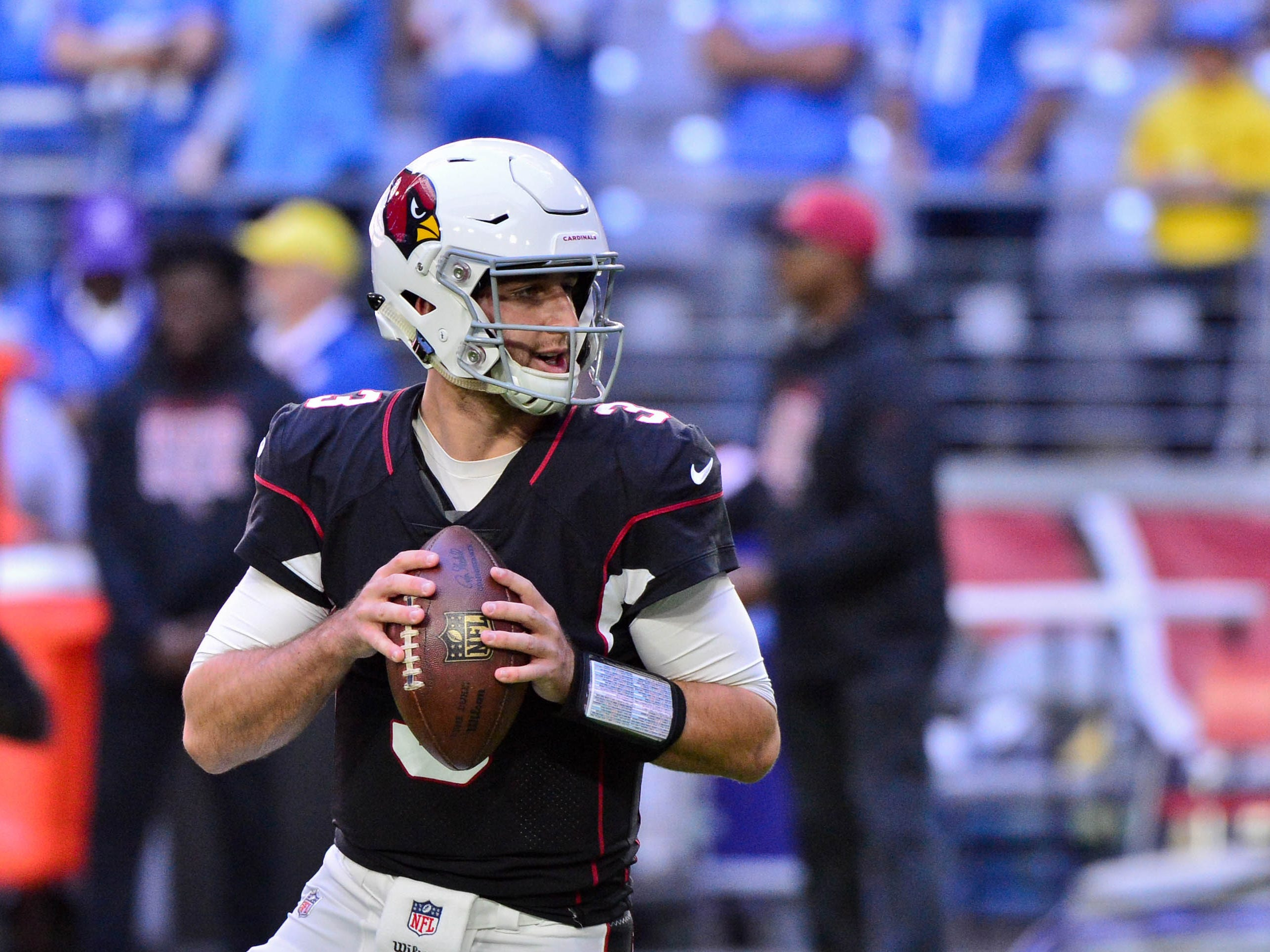 Dec 9, 2018; Glendale, AZ, USA; Arizona Cardinals quarterback Josh Rosen (3) warms up prior to the game against the Detroit Lions at State Farm Stadium. Mandatory Credit: Matt Kartozian-USA TODAY Sports