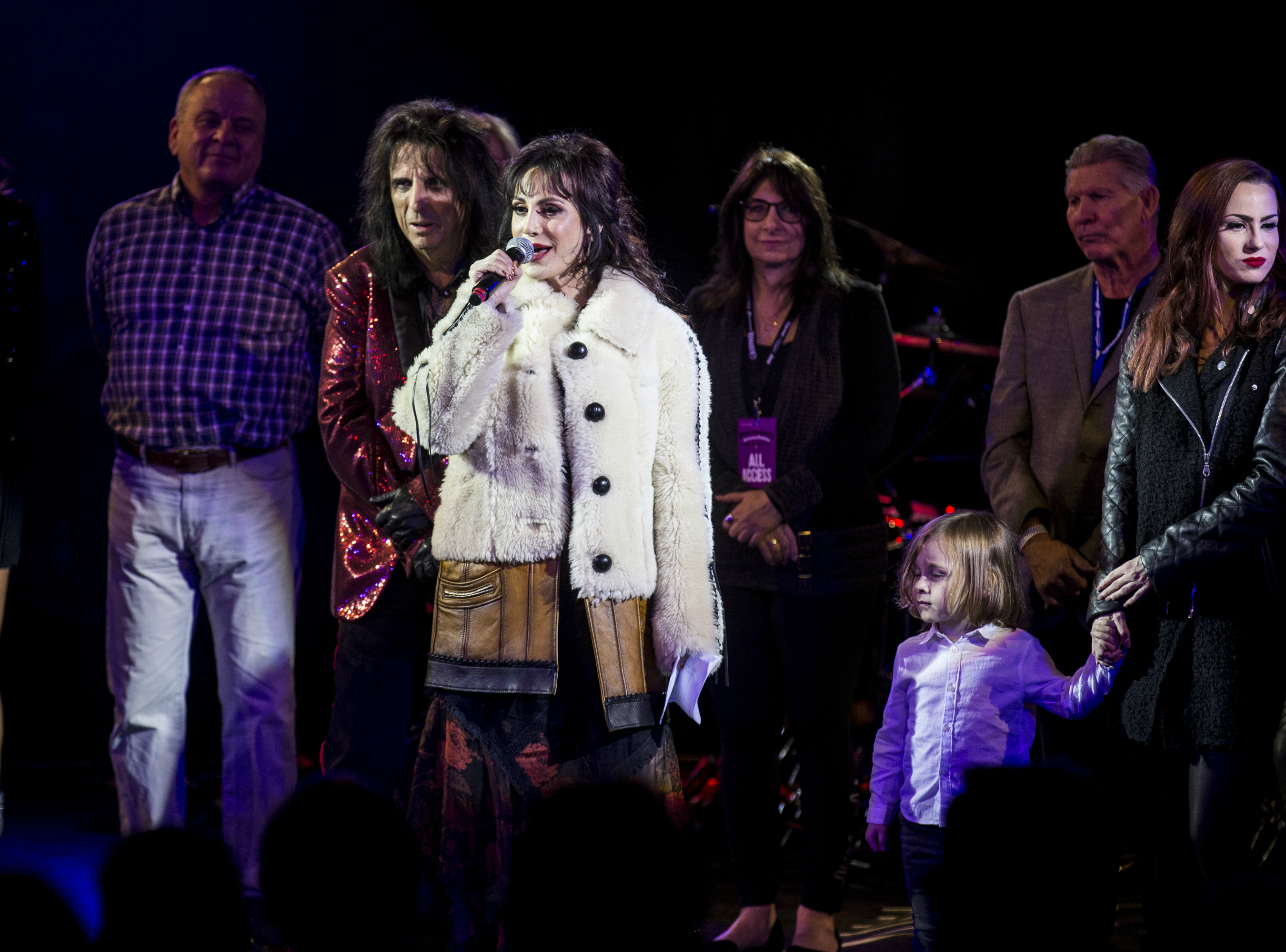 Sheryl Cooper speaks during the 17th annual Alice Cooper's Christmas Pudding concert, Dec. 8, 2018, at Celebrity Theatre in Phoenix.