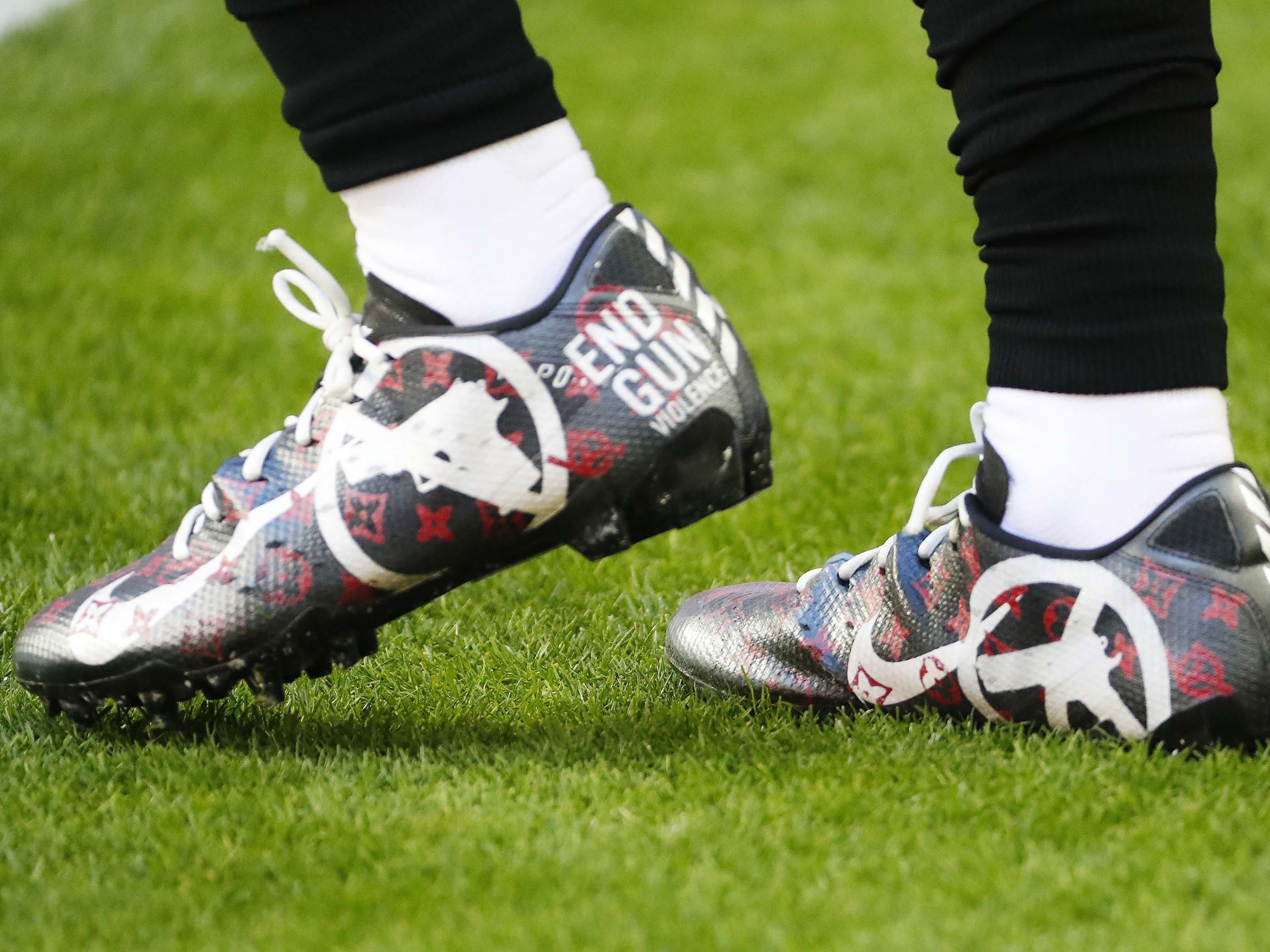Arizona Cardinals wide receiver Trent Sherfield (16) wears cleats as part of the NFL's My Cause My Cleats campaign before playing against the Detroit Lions December 9.