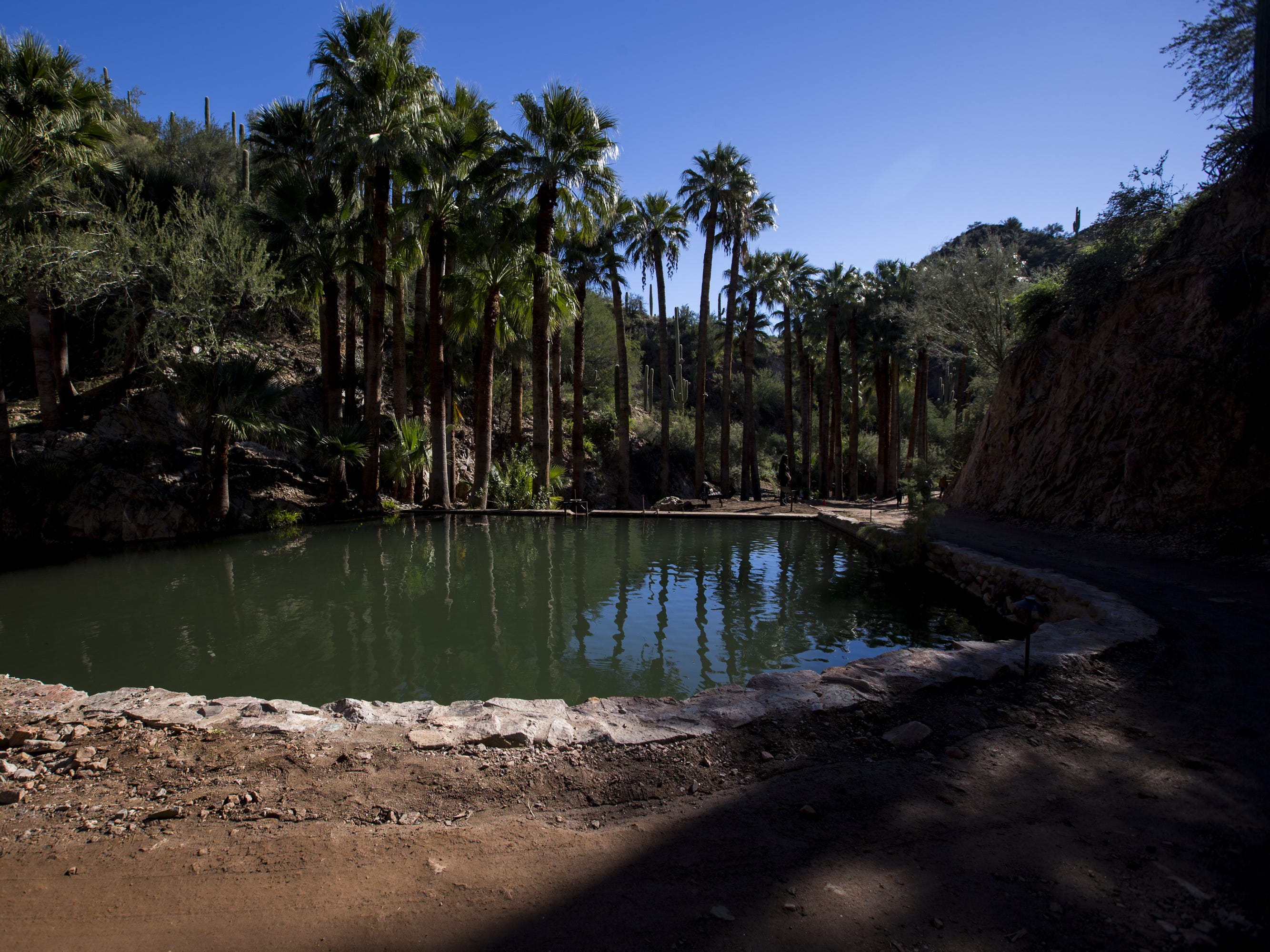 A pond at the newly renovated Castle Hot Springs resort is pictured on Saturday, Dec. 8, 2018, in Morristown, Ariz. It has been 50 years since the resort has hosted any guests.