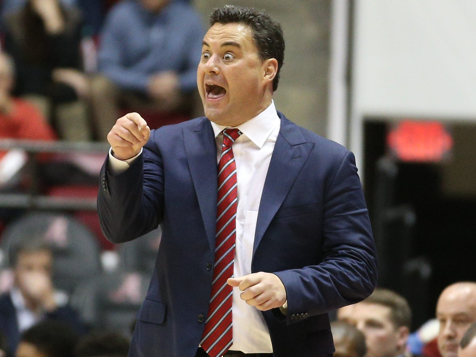 Dec 9, 2018; Tuscaloosa, AL, USA; Arizona Wildcats head coach Sean Miller reacts to his teams play during the first half against Alabama Crimson Tide at Coleman Coliseum. Mandatory Credit: Marvin Gentry-USA TODAY Sports