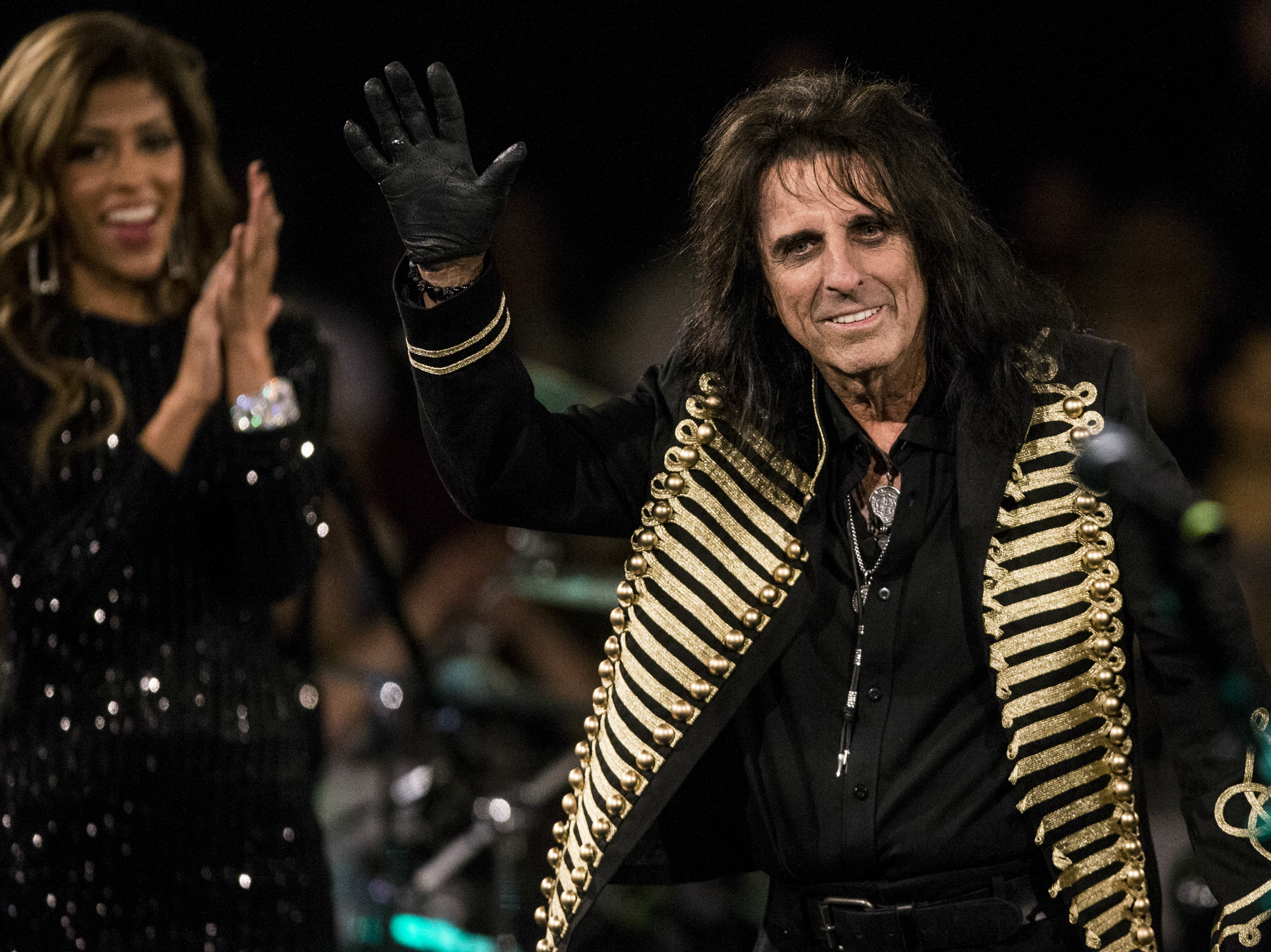 Alice Cooper waves to the crowd during the 17th annual Alice Cooper's Christmas Pudding concert, Dec. 8, 2018, at Celebrity Theatre in Phoenix.