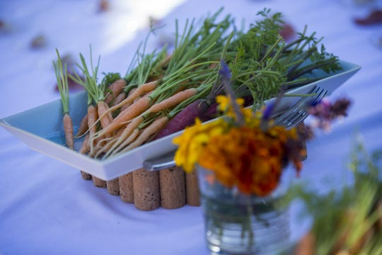 Fresh vegetables from the garden are pictured during a private preview of the newly renovated Castle Hot Springs resort on Saturday, Dec. 8, 2018, in Morristown, Ariz. It has been 50 years since the resort has hosted any guests.