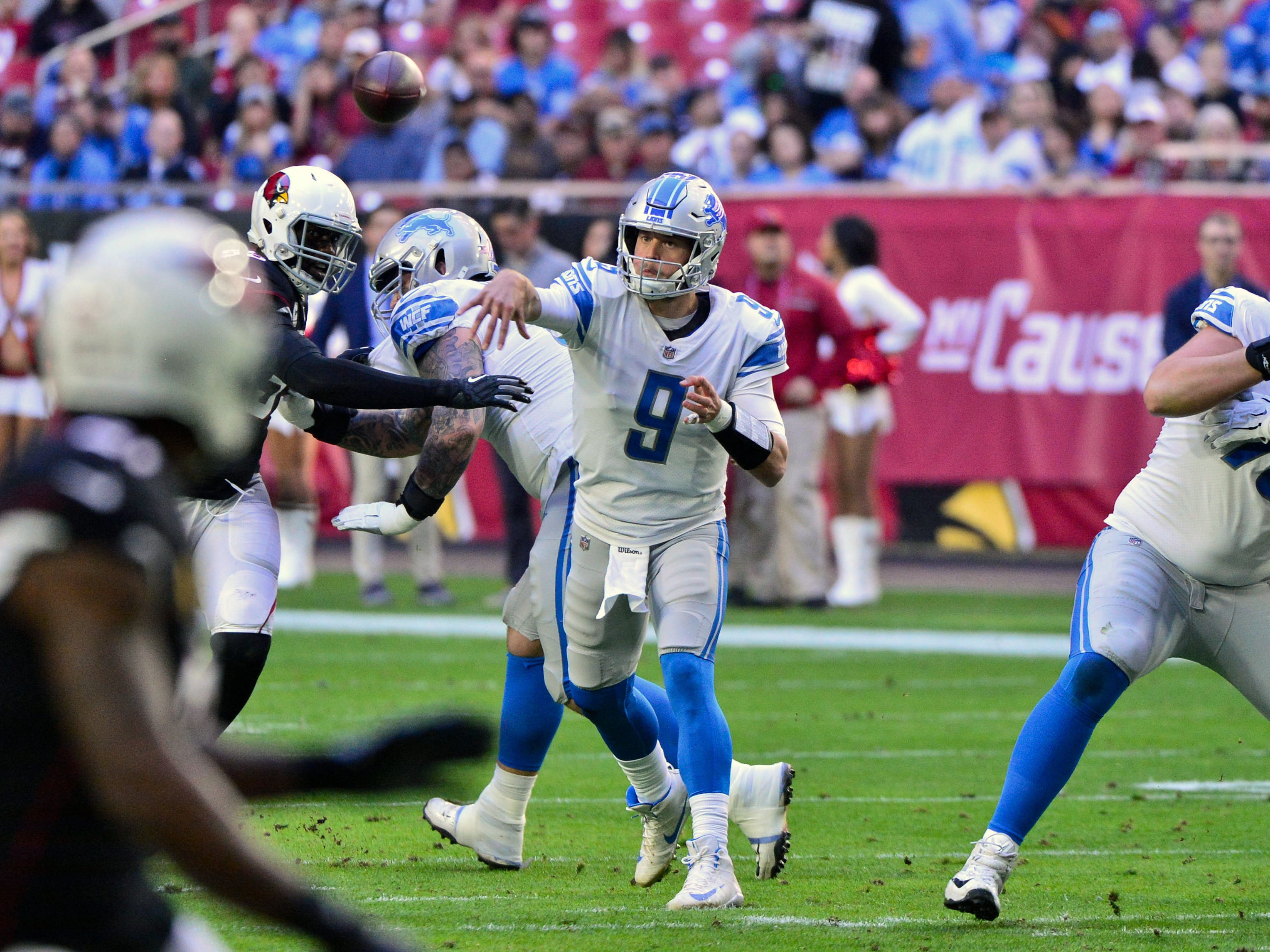 Dec 9, 2018; Glendale, AZ, USA; Detroit Lions quarterback Matthew Stafford (9) throws during the first half against the Arizona Cardinals at State Farm Stadium. Mandatory Credit: Matt Kartozian-USA TODAY Sports