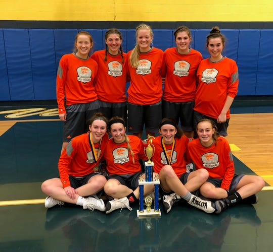 The Northern Lebanon Tip-Off champs from Palmyra, front row, from left, Olivia Richardson, Sara Boyer, Amelia Baldo, Zoe Smith. Back row: Genieva Martin, Katelyn Becker, Jess St. Clair, Dyllan Shuey and Kaitlyn Connell.