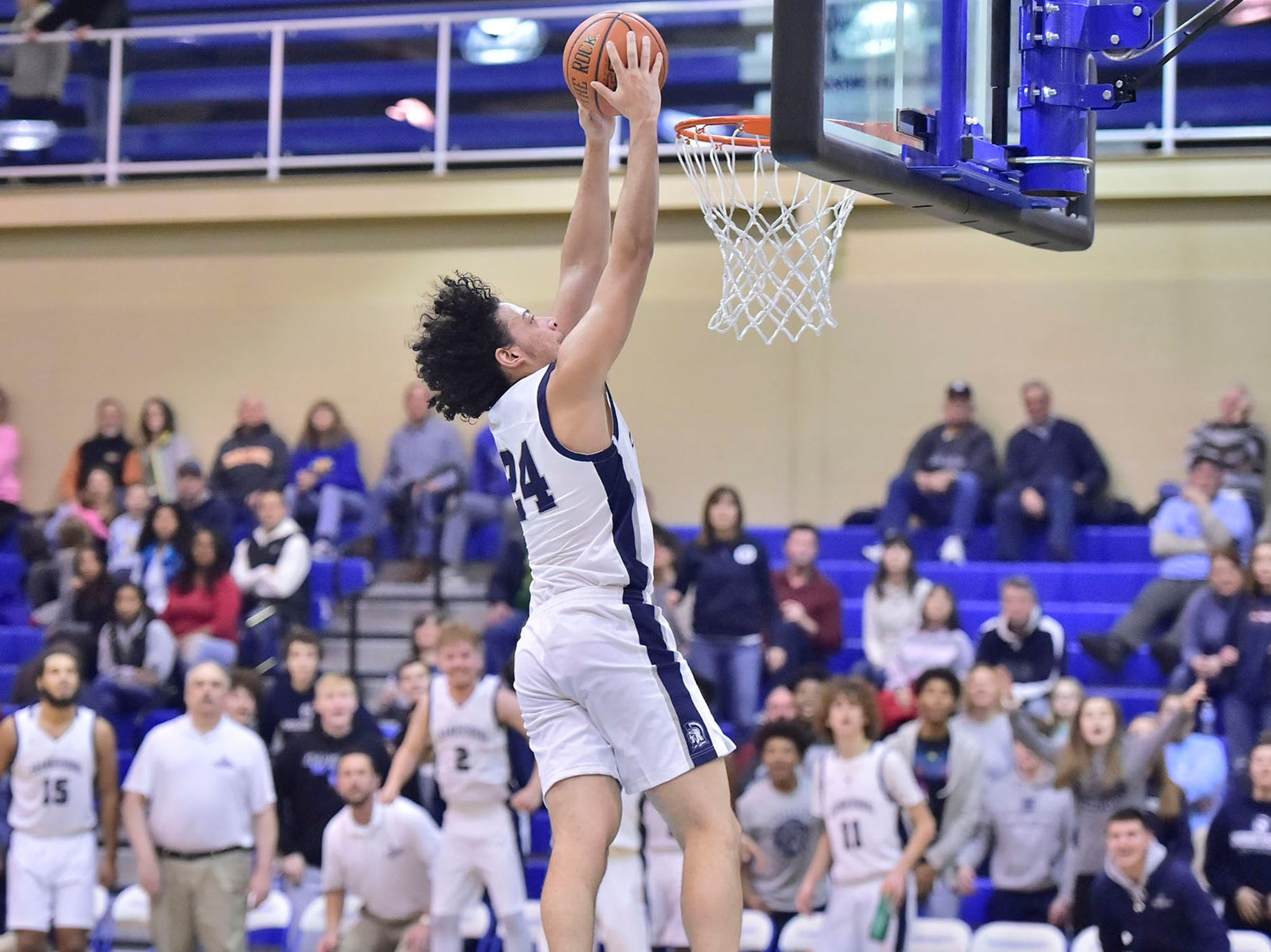 Chambersburg's Ty Holsopple dunks the ball during a fastbreak against Waynesboro. Chambersburg lost Waynesboro 42-39 during the finals at Franklin County Tip-Off Tournament, Saturday, Dec. 8, 2018.