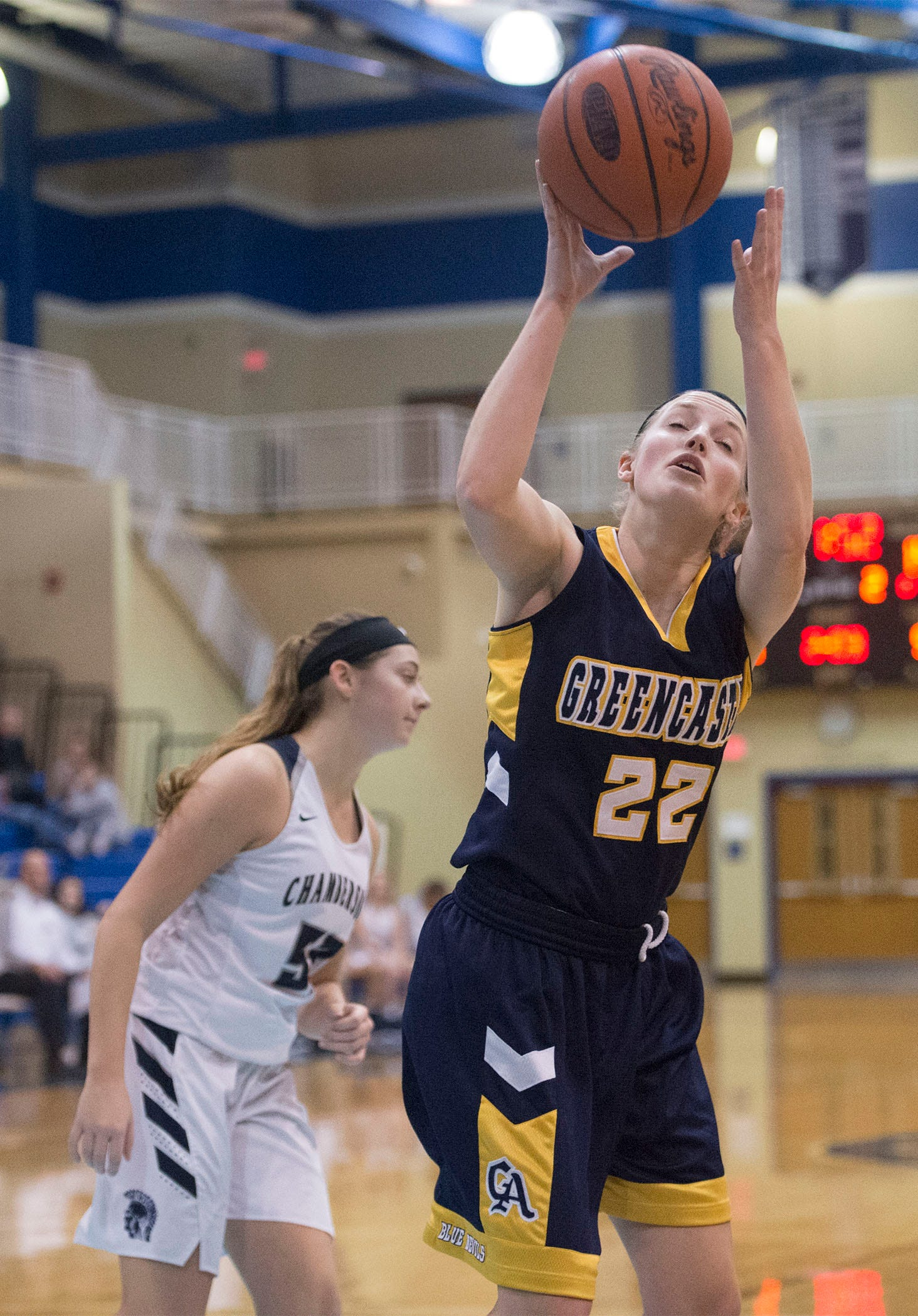Lydia Crist of Greencastle pulls down a rebound. Chambersburg played Greencastle during the finals at Franklin County Tip-Off Tournament, Saturday, Dec. 8, 2018.