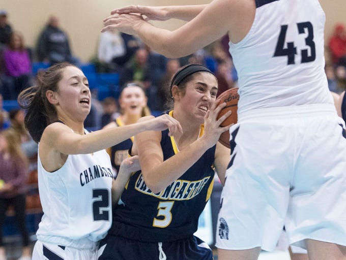 Greencastles's McKenna Rakaczewski (3) moves the ball while guarded by Chambersburg's Madison Flythe (23) and Ashley Adams (43). Greencastle defeated Chambersburg 26-22 during the finals at Franklin County Tip-Off Tournament, Saturday, Dec. 8, 2018.