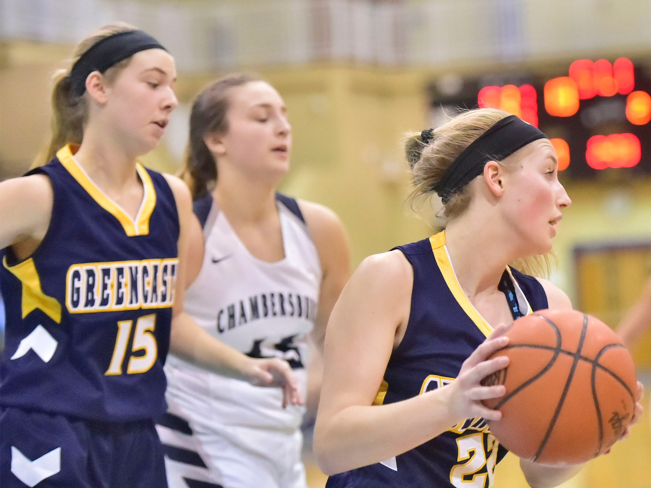 Greencastle's Lydia Crist controls the ball for the Lady Blue Devils. Chambersburg played Greencastle during the finals at Franklin County Tip-Off Tournament, Saturday, Dec. 8, 2018.