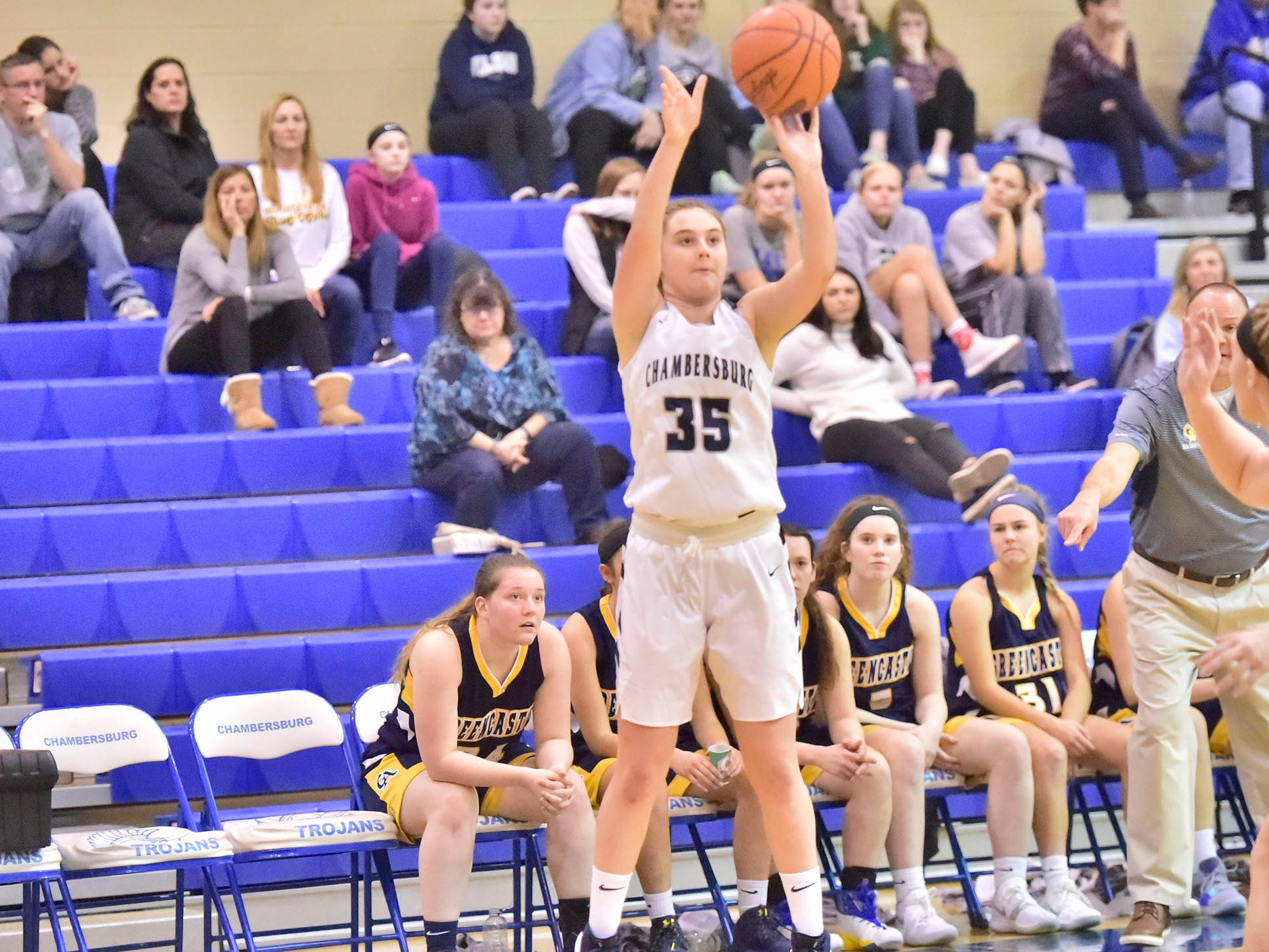 Sydney Schmus of Chambersburg fires up a shot. Chambersburg played Greencastle during the finals at Franklin County Tip-Off Tournament, Saturday, Dec. 8, 2018.