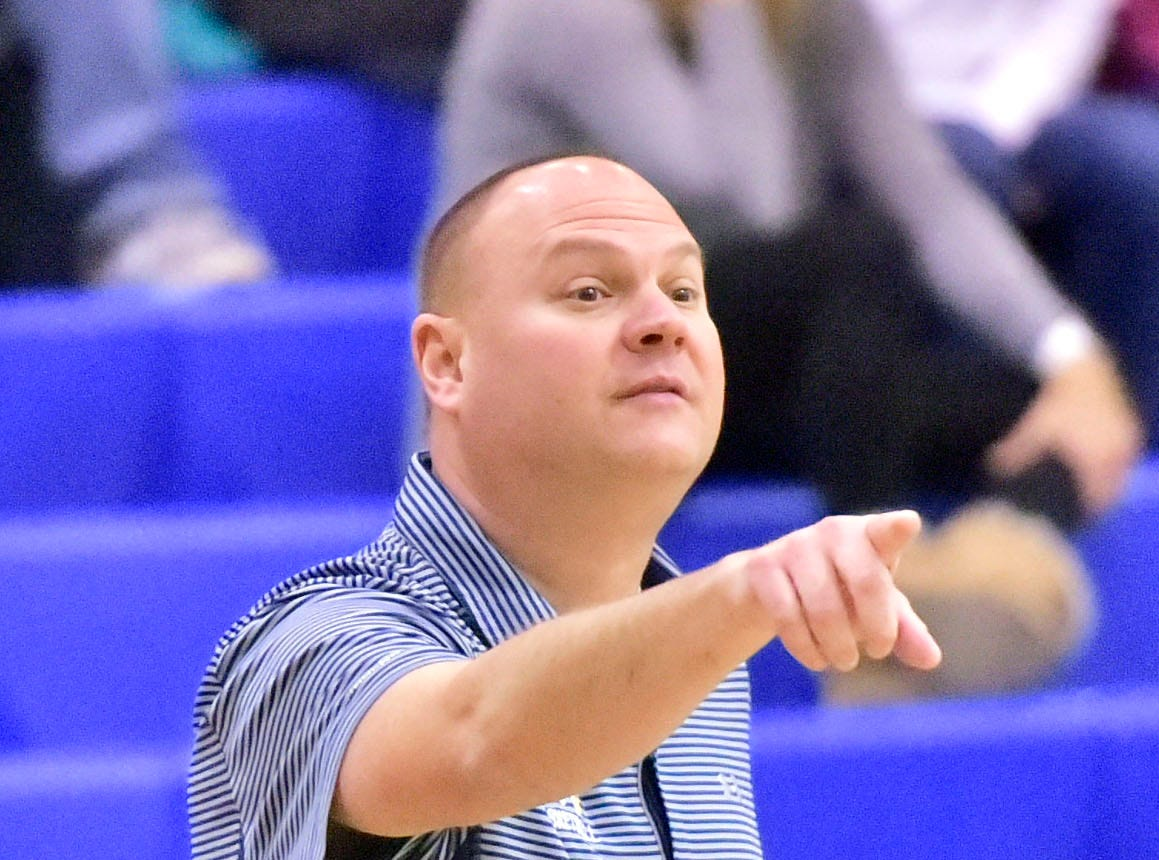 Mike Rhine coaches the Lady Blue Devils. Chambersburg played Greencastle during the finals at Franklin County Tip-Off Tournament, Saturday, Dec. 8, 2018.