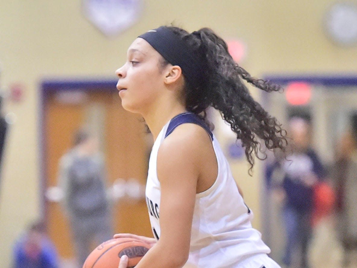 Chambersburg's Bre'ya Clopper works the offense. Chambersburg played Greencastle during the finals at Franklin County Tip-Off Tournament, Saturday, Dec. 8, 2018.