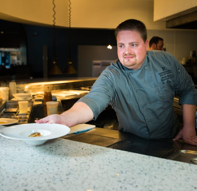 Chef Jacob Burton of the Shore restaurant in the Renaissance hotel created Pips Pass, a tasting for up to eight diners served at the chef's counter.
