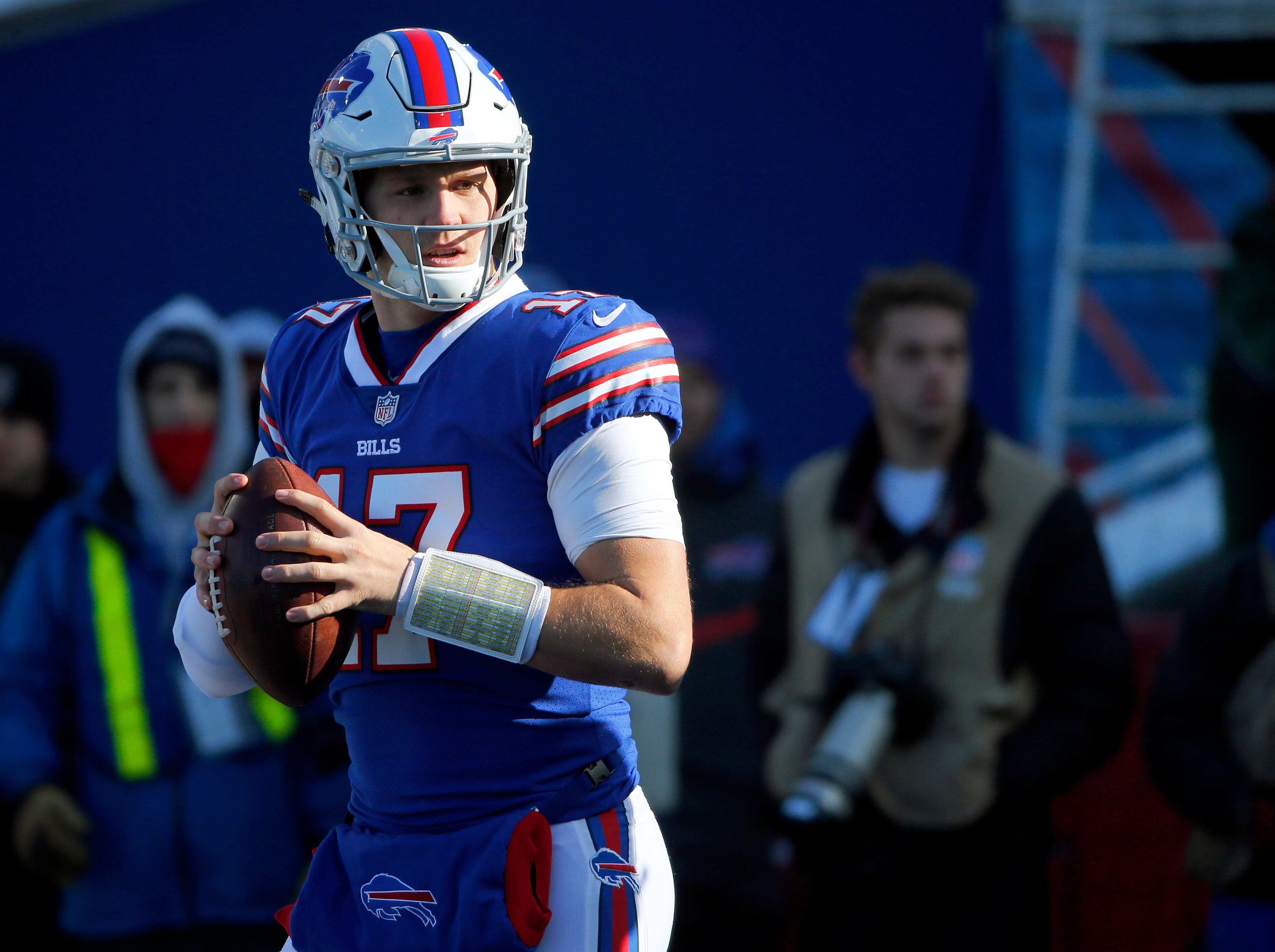 Buffalo Bills quarterback Josh Allen warms up before an NFL football game against the New York Jets, Sunday, Dec. 9, 2018, in Orchard Park, N.Y. (AP Photo/Jeffrey T. Barnes)