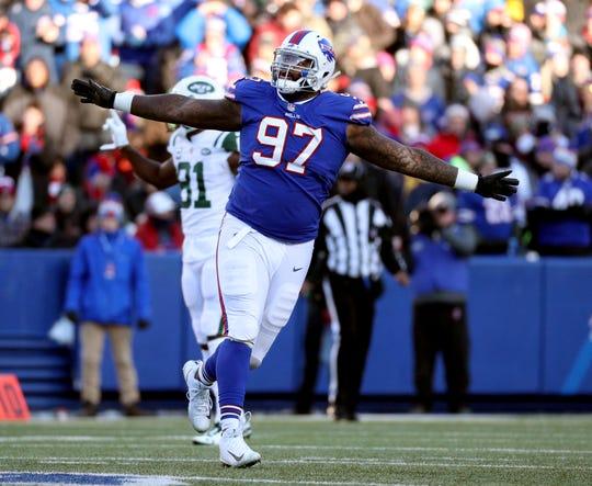 Bills Jordan Phillips celebrates a stop against the Jets.