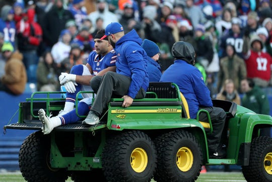 Bills linebacker Matt Milano suffered a lower leg injury and is carted off the field.