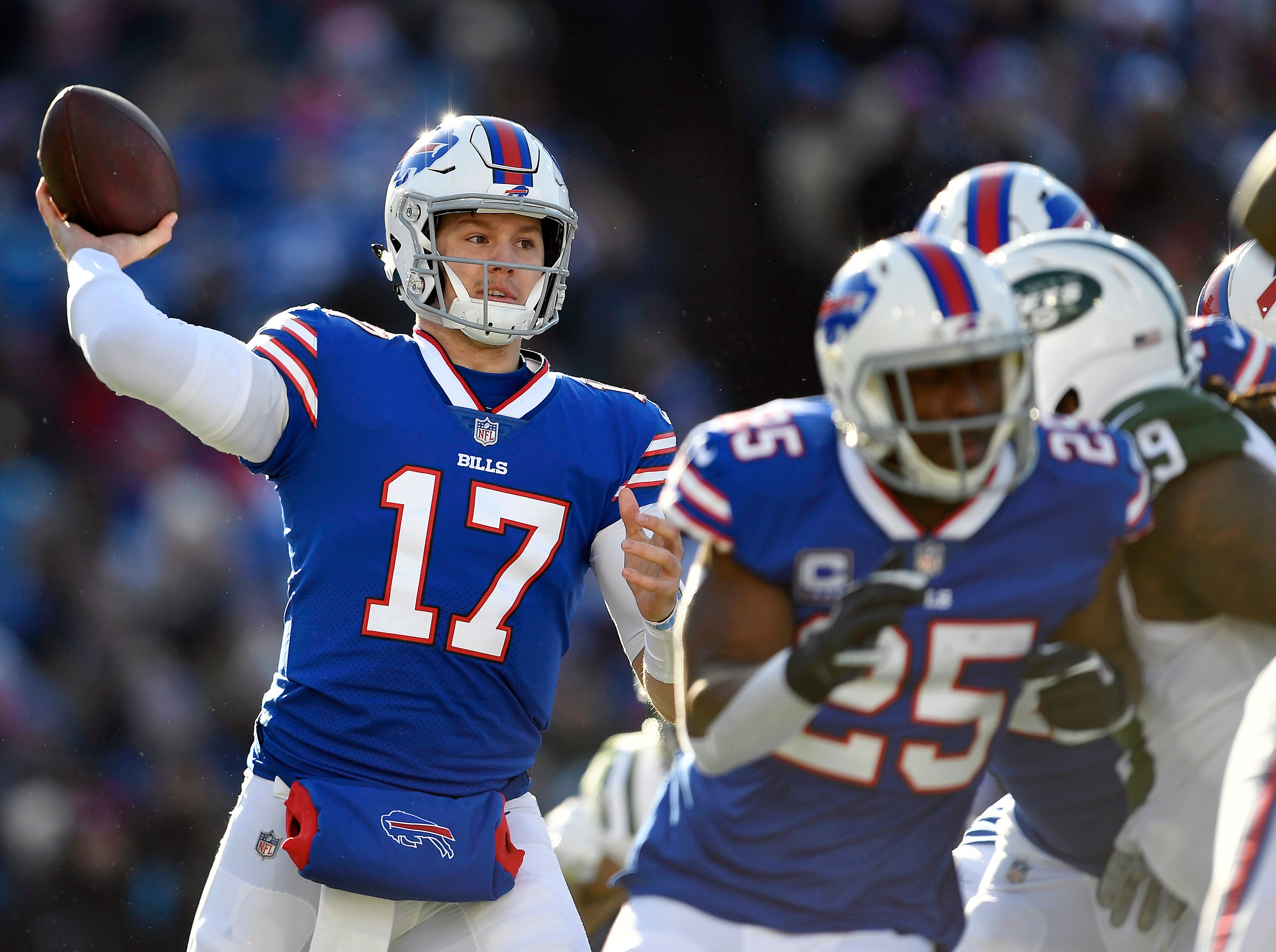 Buffalo Bills quarterback Josh Allen passes against the New York Jets during the first half of an NFL football game, Sunday, Dec. 9, 2018, in Orchard Park, N.Y. (AP Photo/Adrian Kraus)